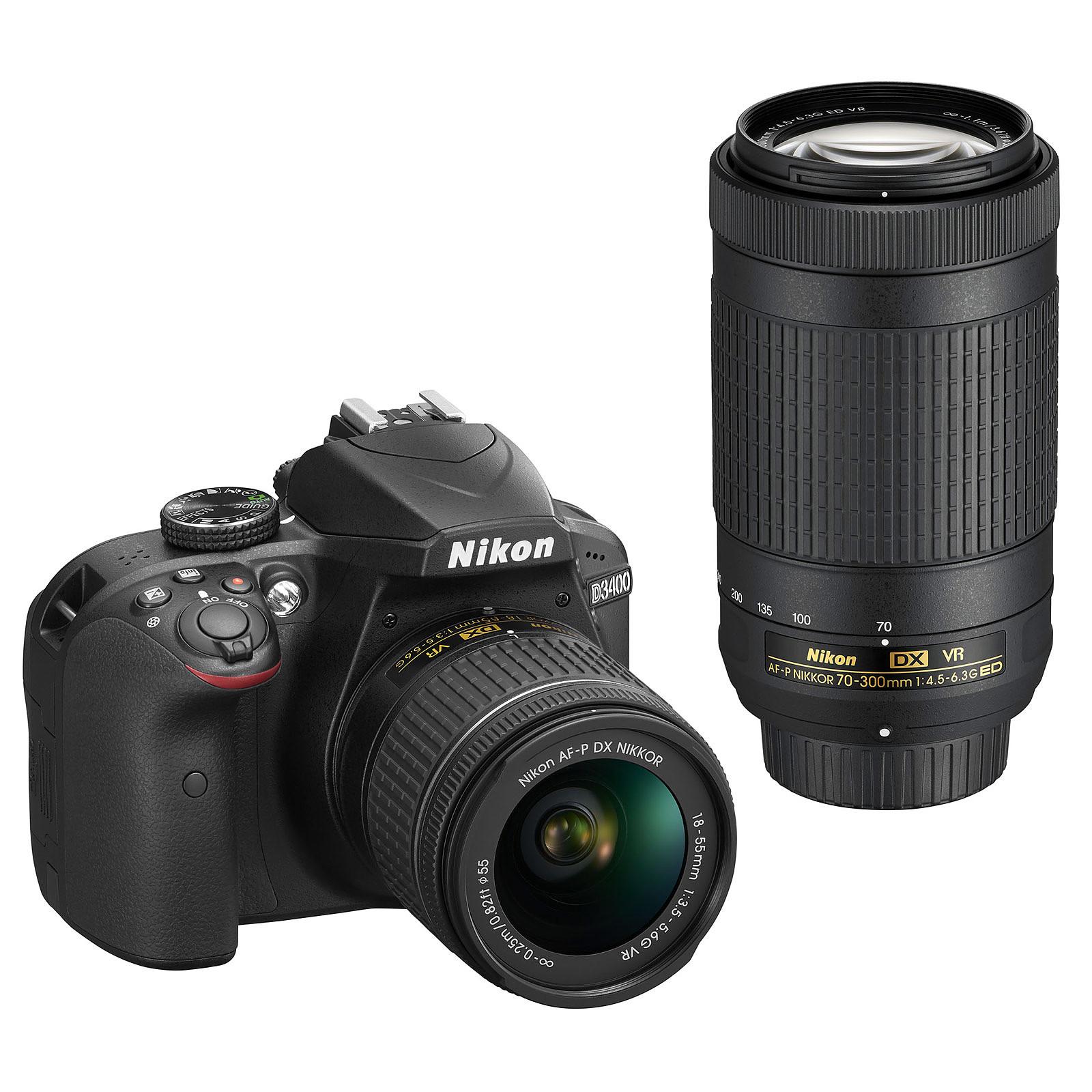 Nikon D3400 + AF-P DX 18-55 VR + AF-P DX 70-300 VR negro