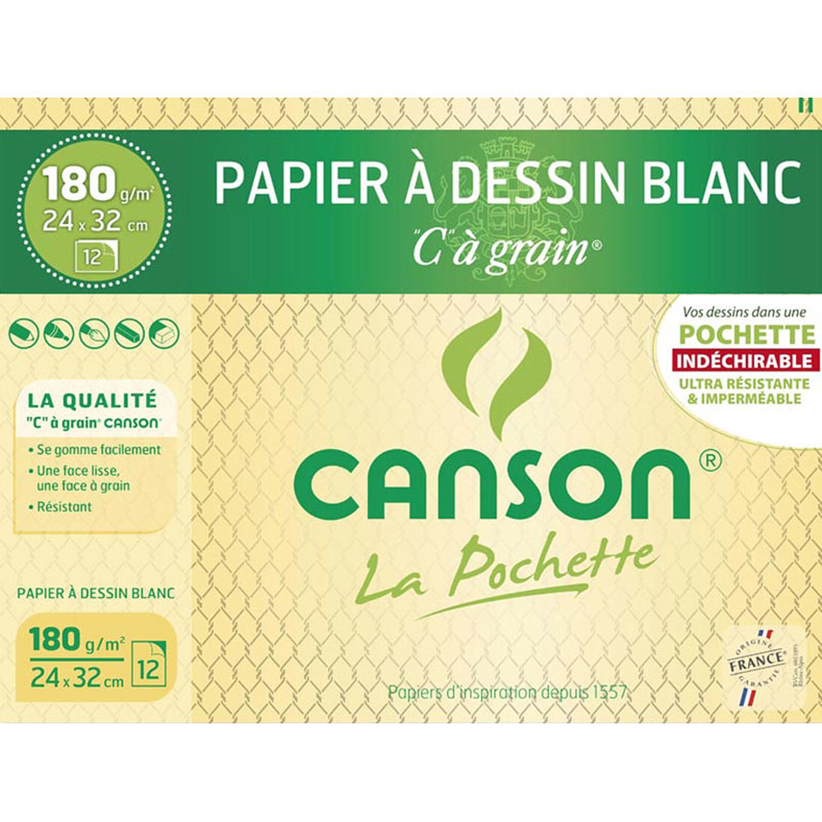 """Canson Pochette Papier dessin Blanc """"C"""" à grain (24 x32)"""