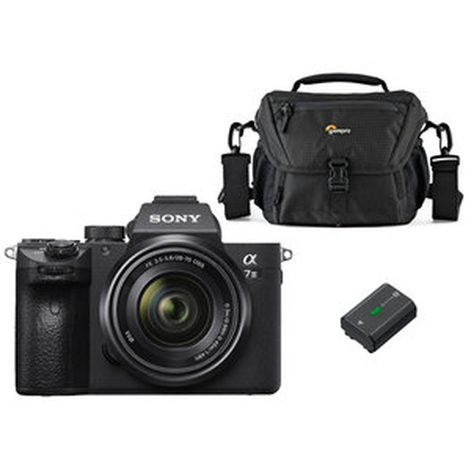 Sony Alpha 7 III + 28-70 mm + Lowepro Nova 160 AW II + Sony NP-FZ100