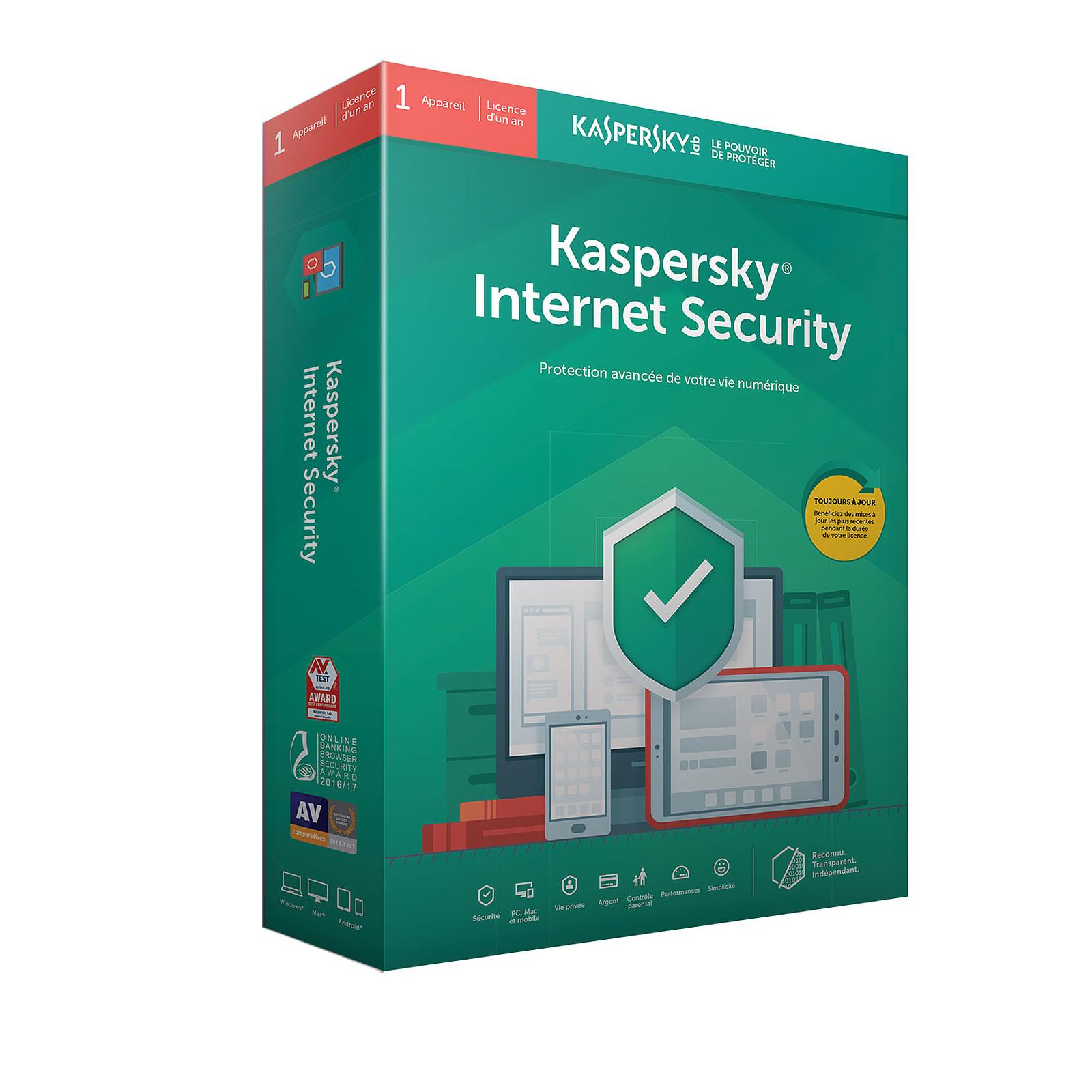 Kaspersky Internet Security 2019 - Licence 1 poste 1 an
