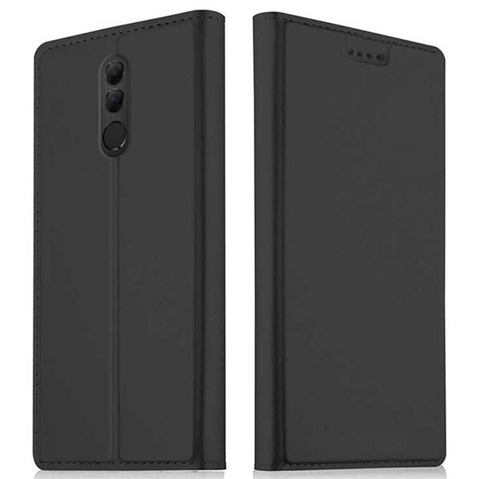Akashi Etui Folio Porte Carte Noir Huawei Mate 20 Lite