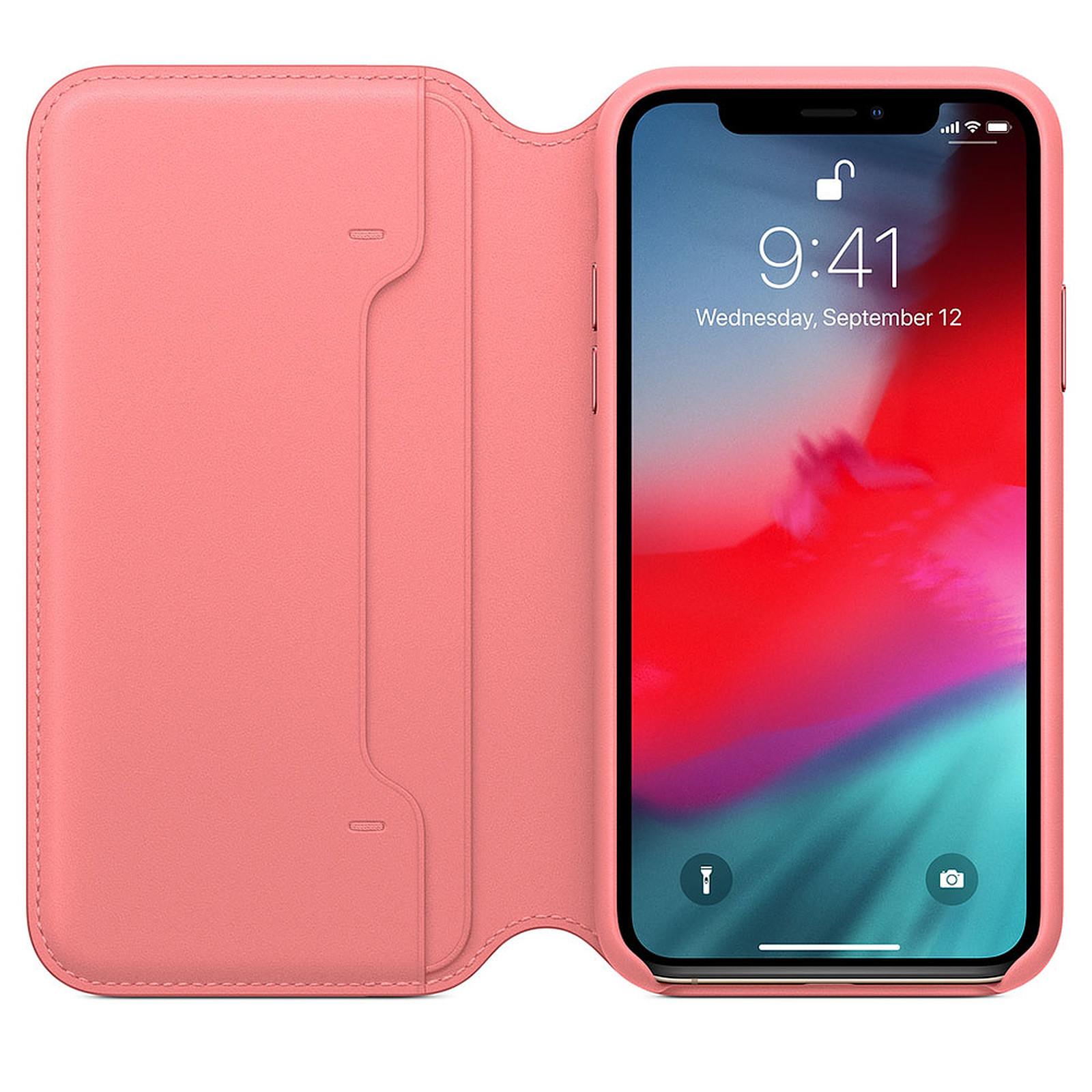 coque iphone xs cuir rose