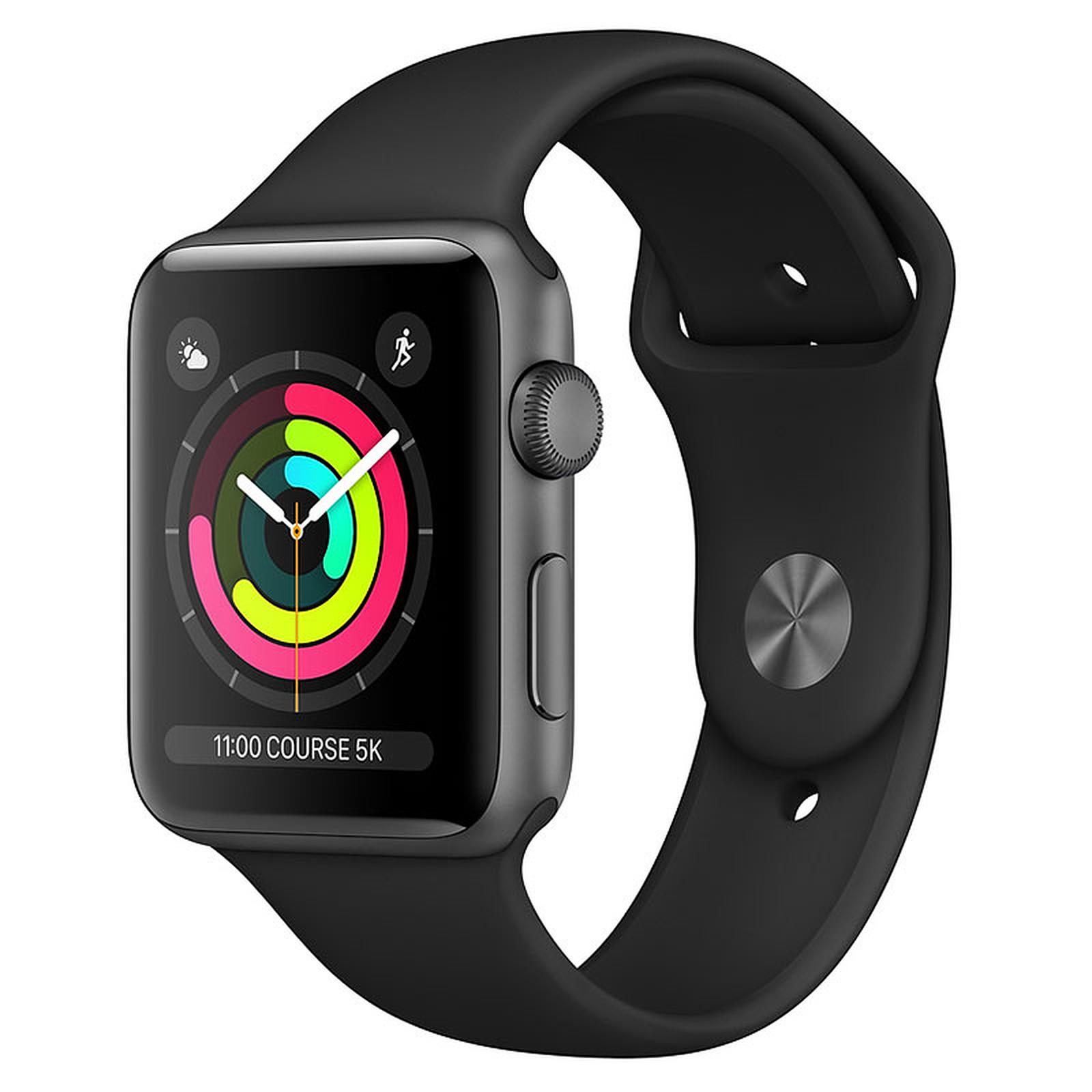 Apple Watch Series 3 GPS Aluminium Gris Sidéral Sport Noir 42 mm