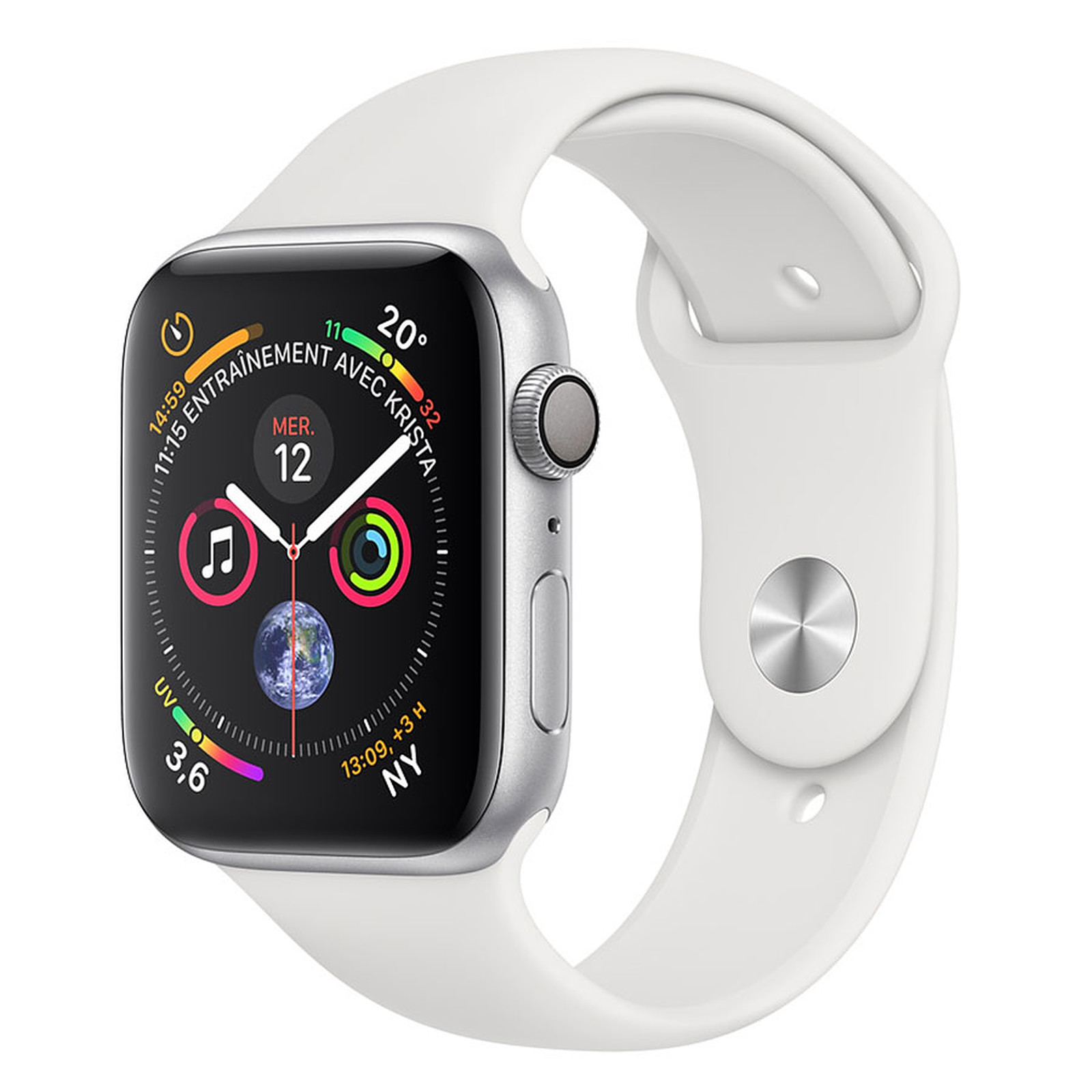 Apple Watch Series 4 GPS Aluminio Aluminio Plata Deportivo Blanco 44 mm