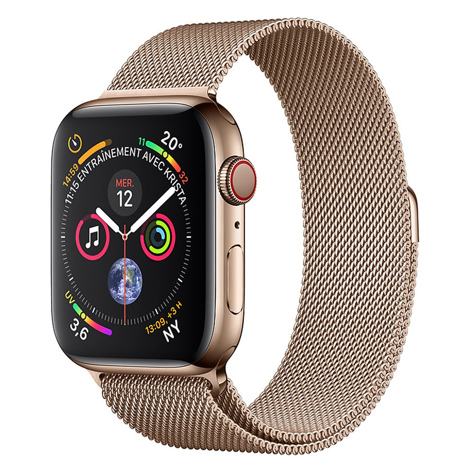 Apple Watch Series 4 GPS + Cellular Acier Or Milanais Or 44 mm