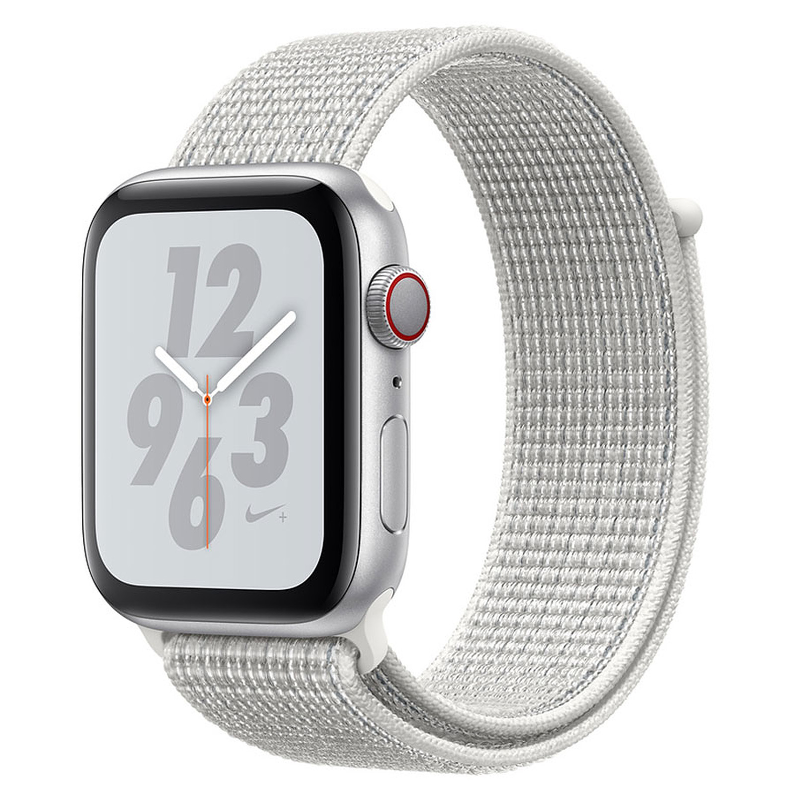 Apple Watch Nike+ Series 4 GPS + Cellular Aluminium Argent Boucle Sport Blanc 44 mm
