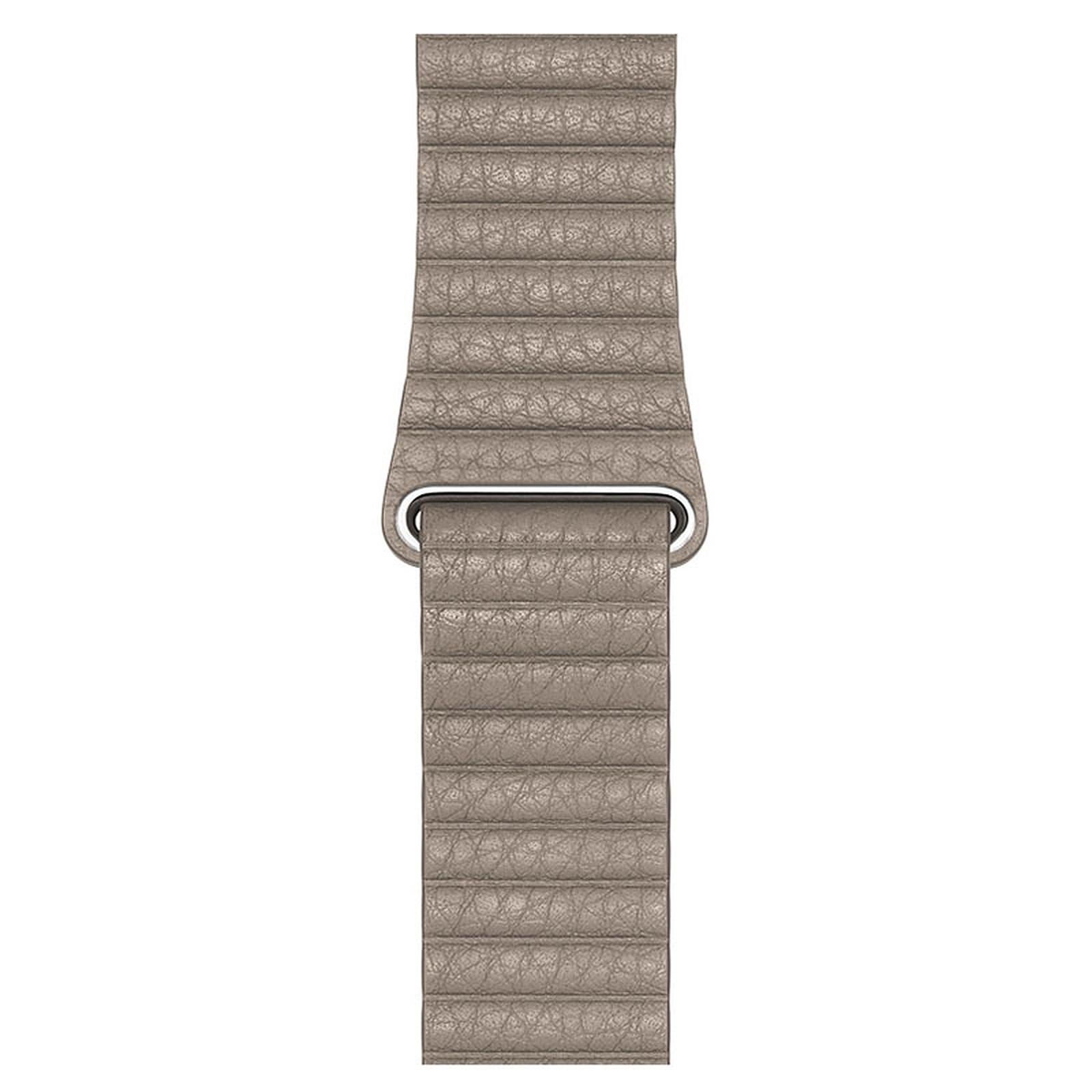 Apple Bracelet Cuir 44 mm Gris Sable - Medium