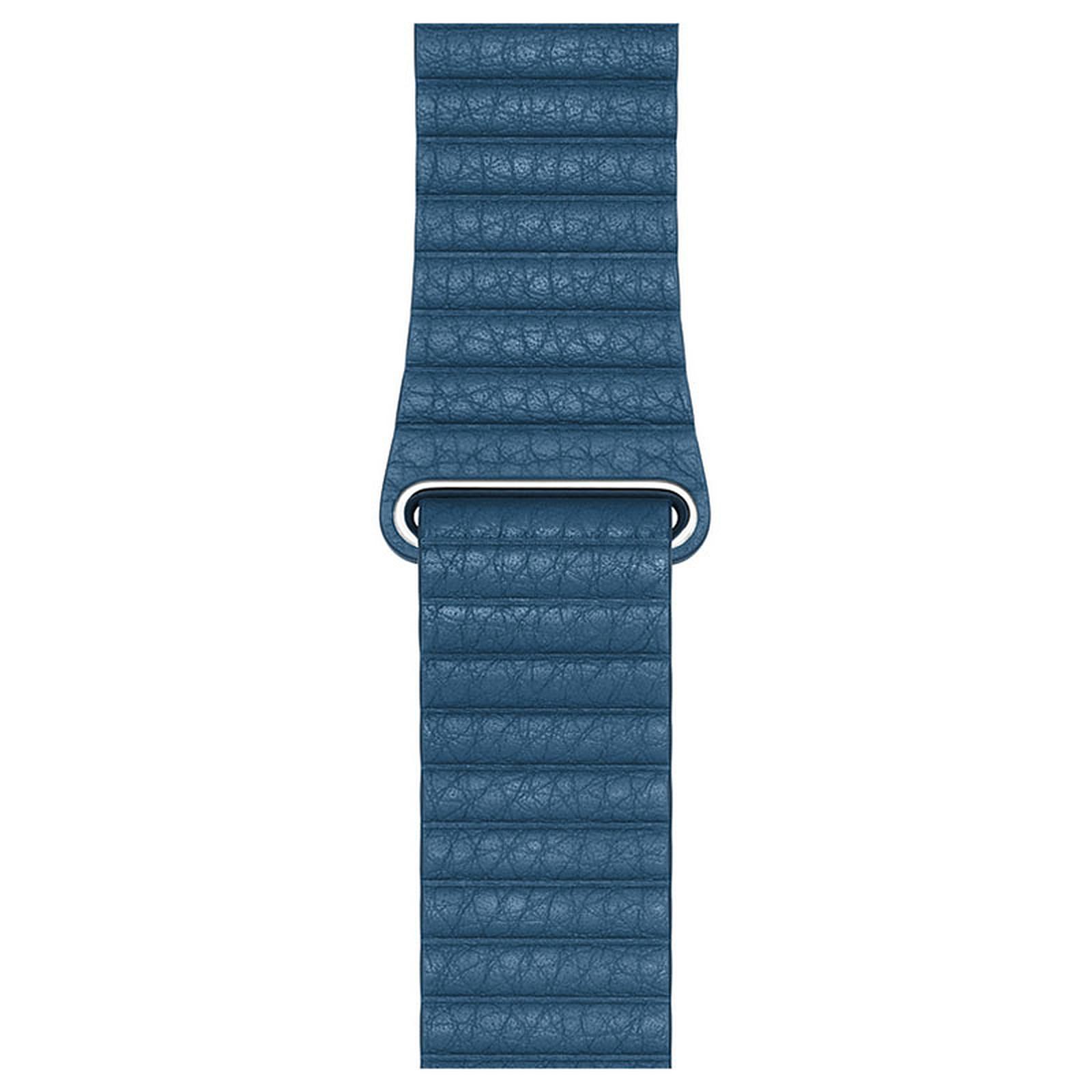 Apple Bracelet Cuir 44 mm Bleu Cape Cod - Large