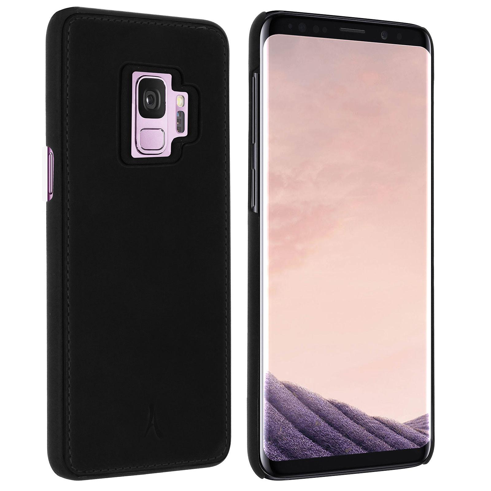 Akashi Coque Cuir Italien Noir Galaxy S9
