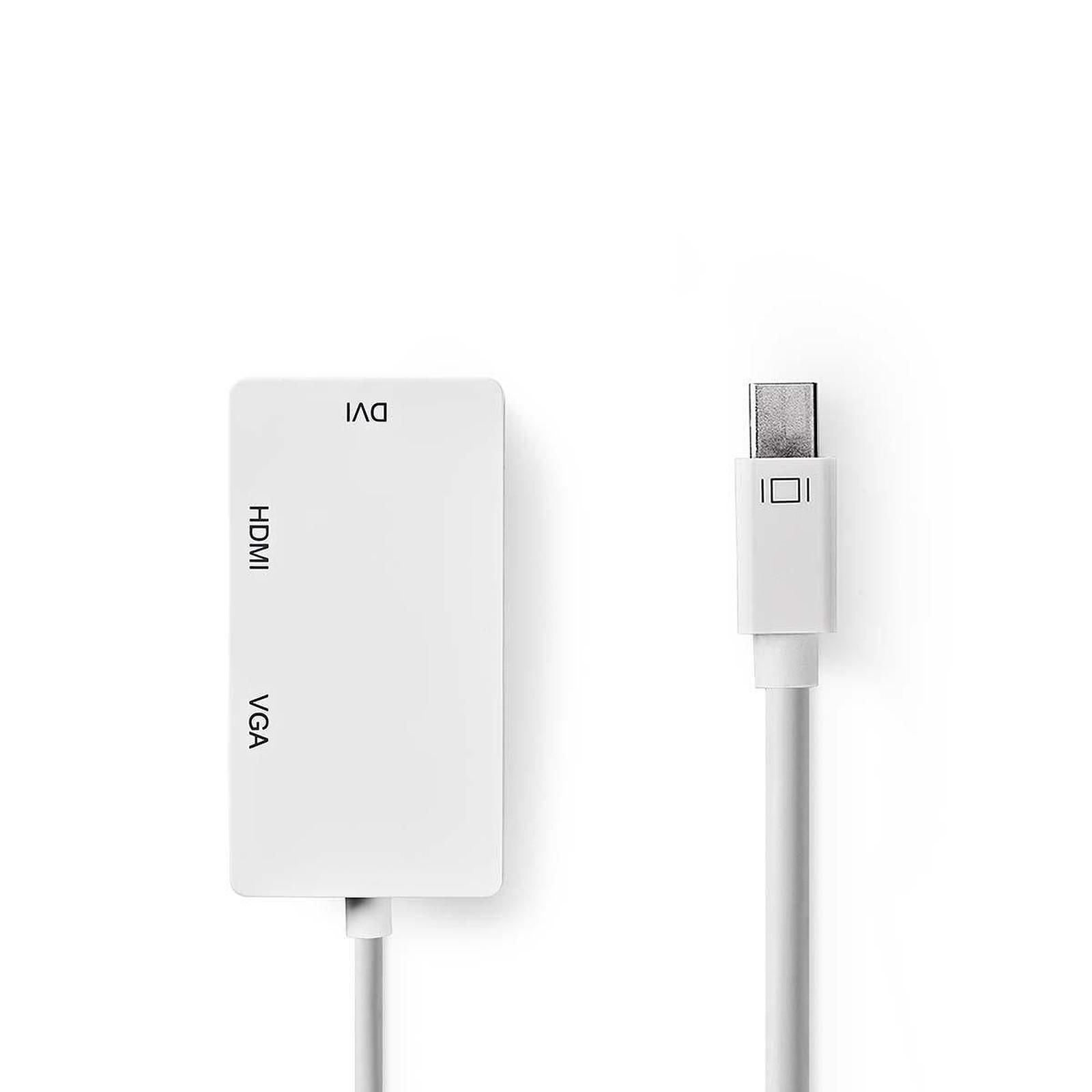 Nedis Adaptateur Mini-DisplayPort vers HDMI, DVI et VGA (Mâle/Femelle)