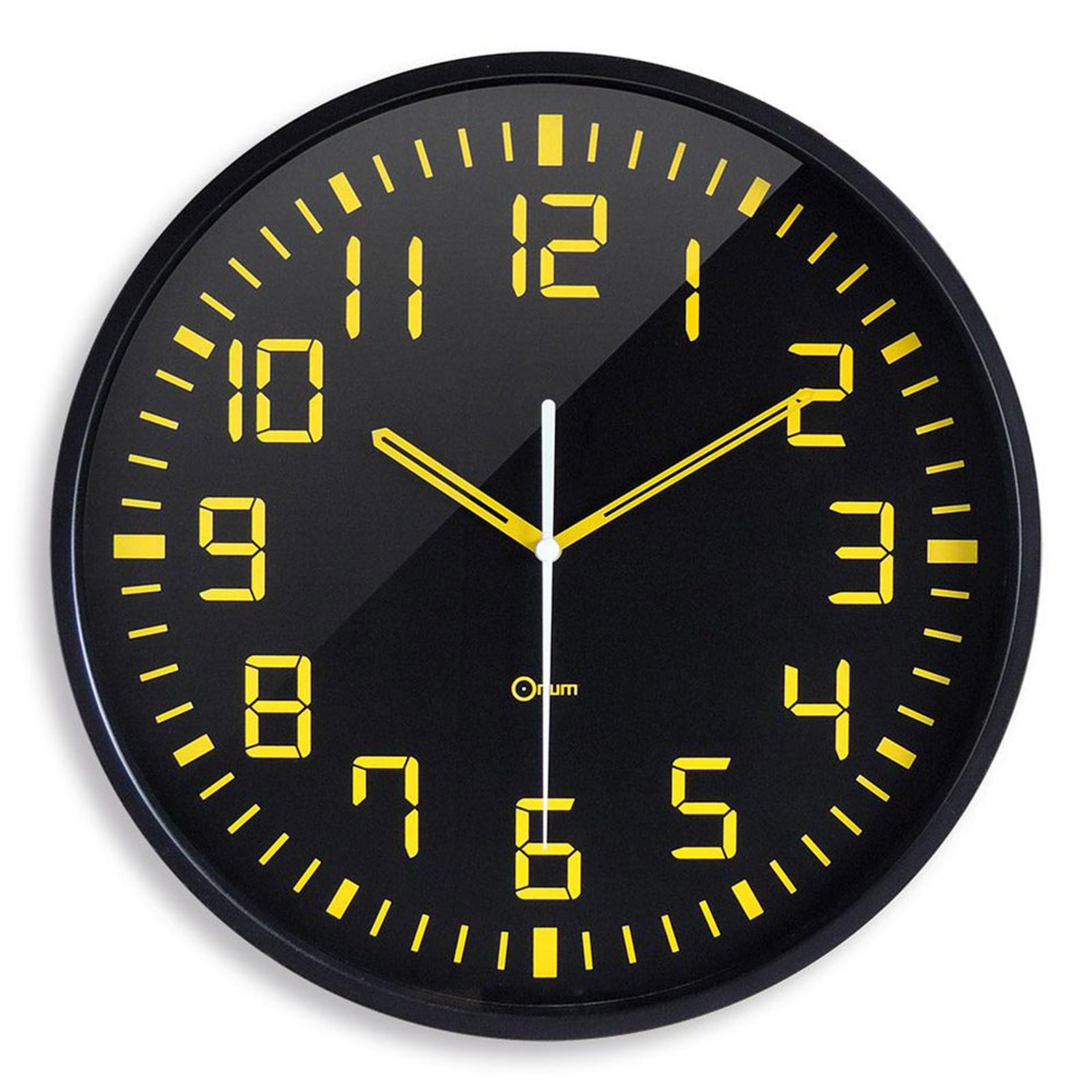 Orium Horloge silencieuse Contraste Noir/jaune