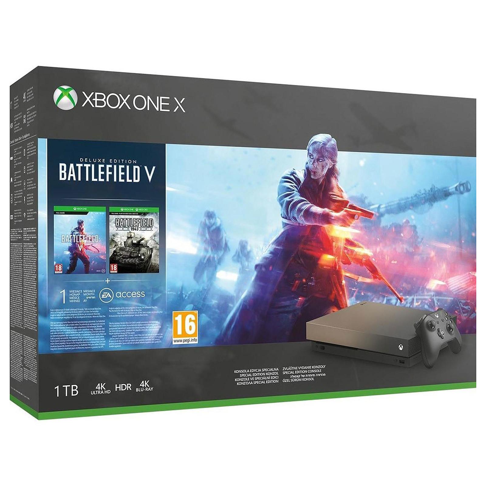 Microsoft Xbox One X (1 To) Gold Rush + Battlefield V