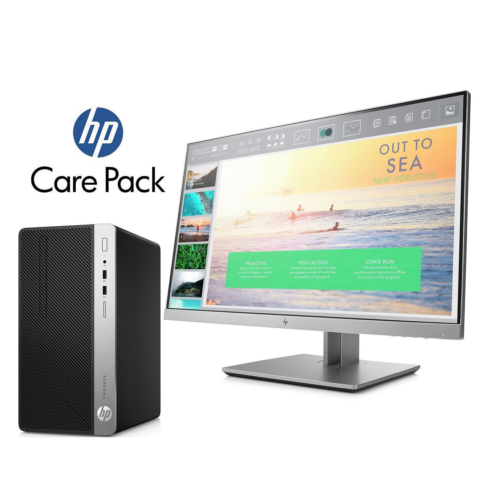 HP ProDesk 400 G5 Micro (4CZ56ET) + HP EliteDisplay E233 + tapis de souris + HP Care Pack U6578A
