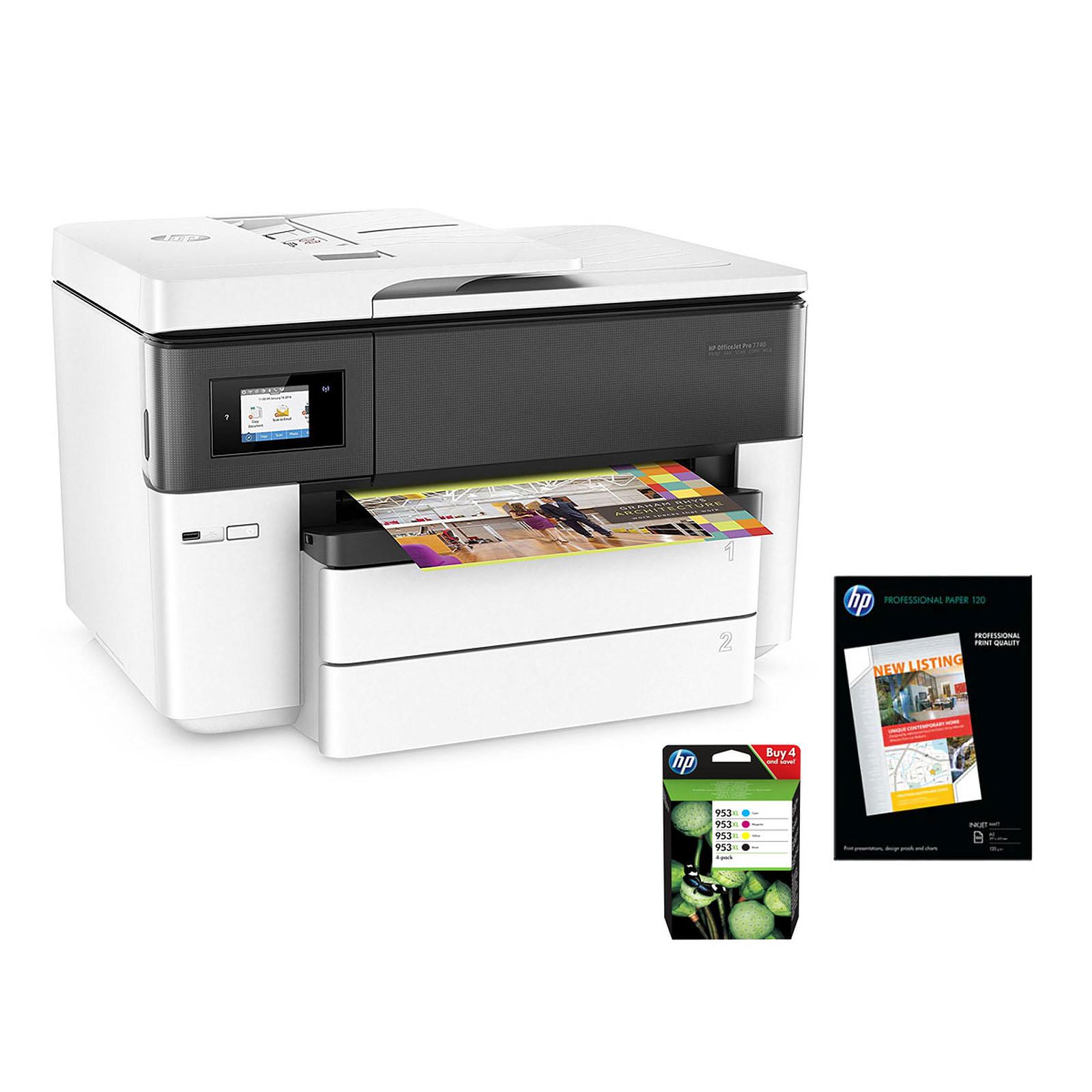 HP OfficeJet Pro 7740 + Papier mat + Pack 4 cartouches