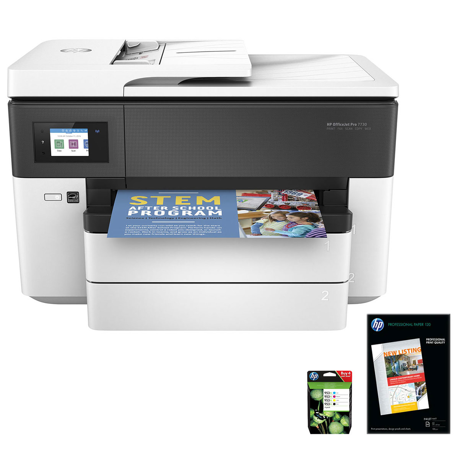 HP OfficeJet Pro 7730 + Papier mat + Pack 4 cartouches