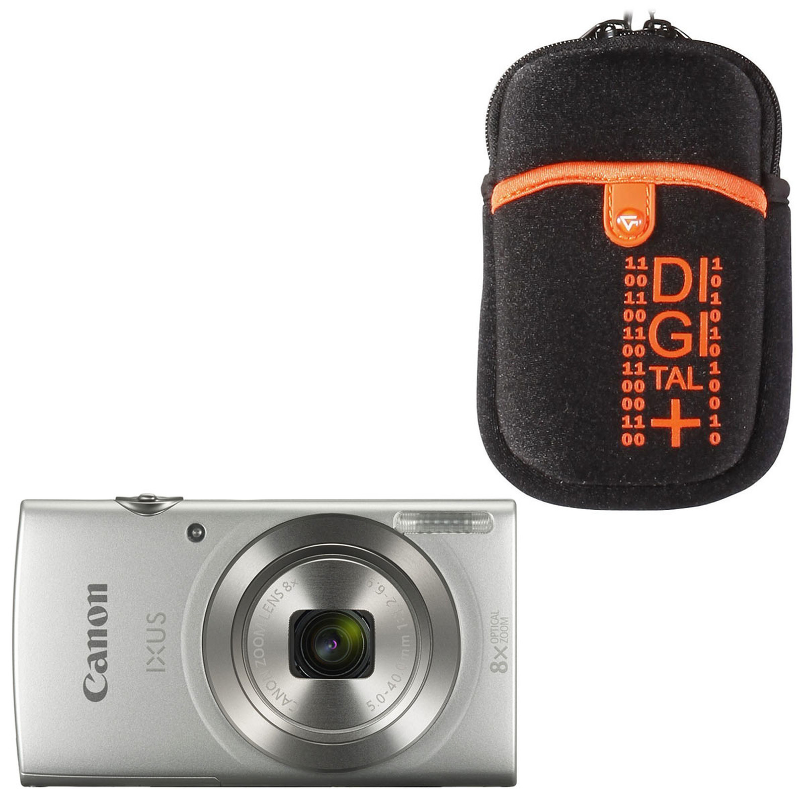 Canon IXUS 185 Argent + Vanguard Beneto 6 Orange
