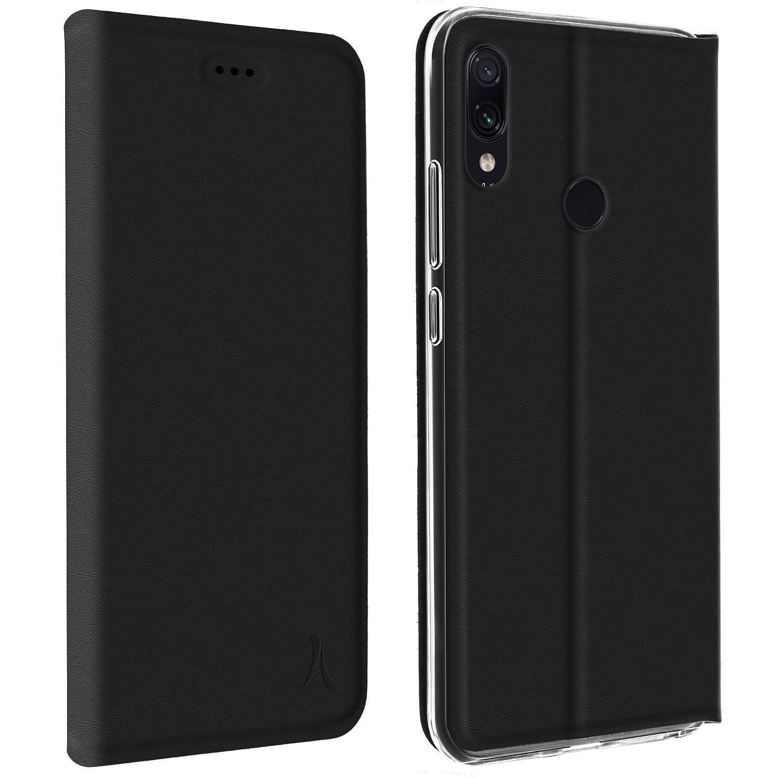 Akashi Etui Folio Porte Carte Noir Xiaomi Redmi Note 7