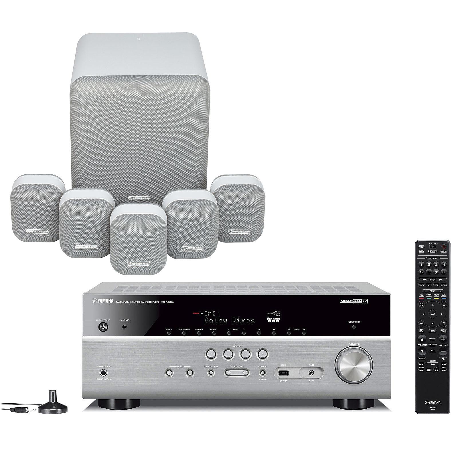 Yamaha RX-V685 Titane + Monitor Audio MASS 5.1 Blanc