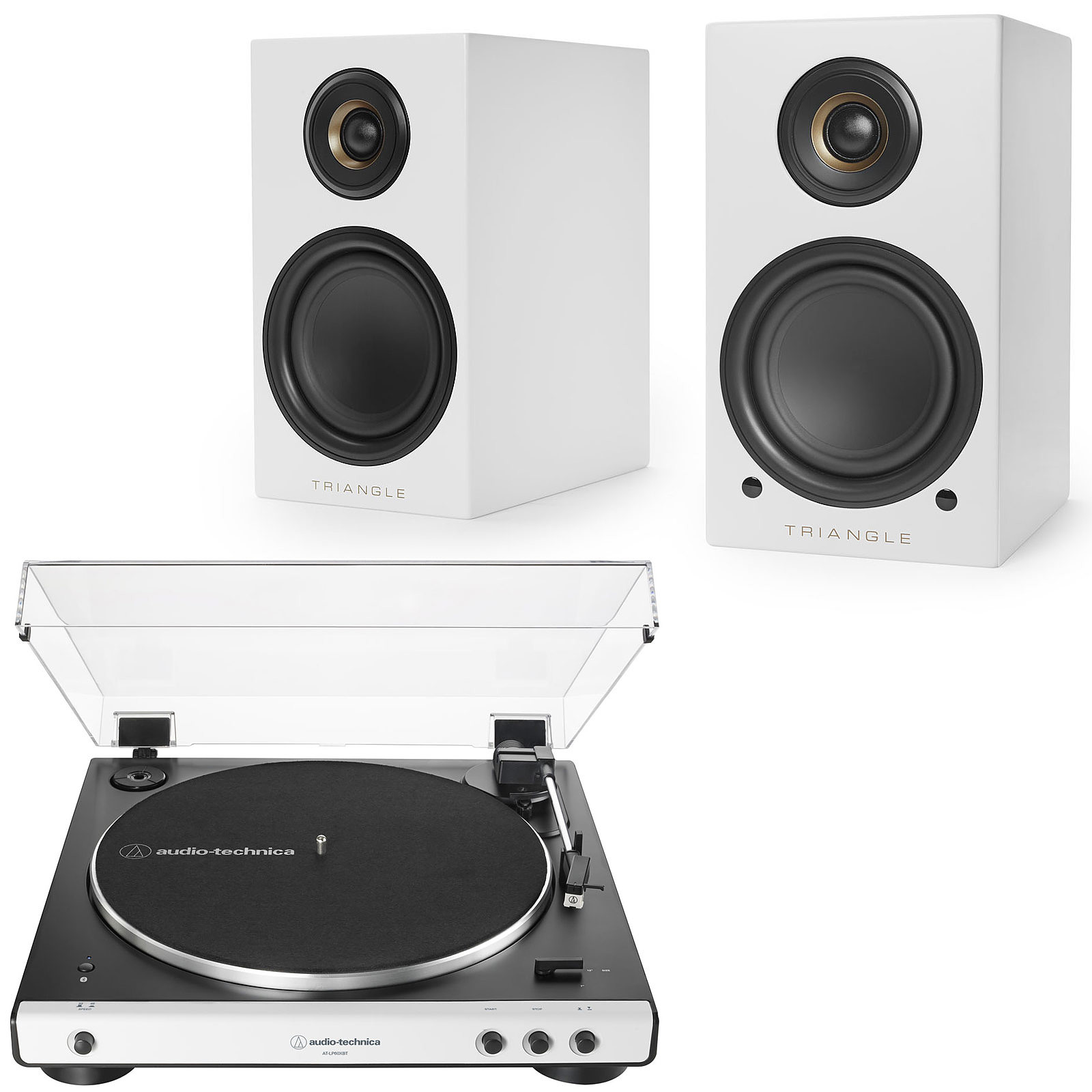 Audio-Technica AT-LP60XBT Blanc + Triangle Elara LN01A Blanc mat