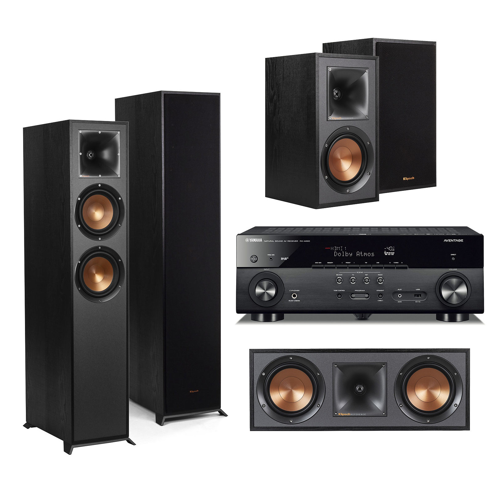 yamaha musiccast rx a680 noir klipsch pack 620 5 0 ensemble home cin ma yamaha sur. Black Bedroom Furniture Sets. Home Design Ideas
