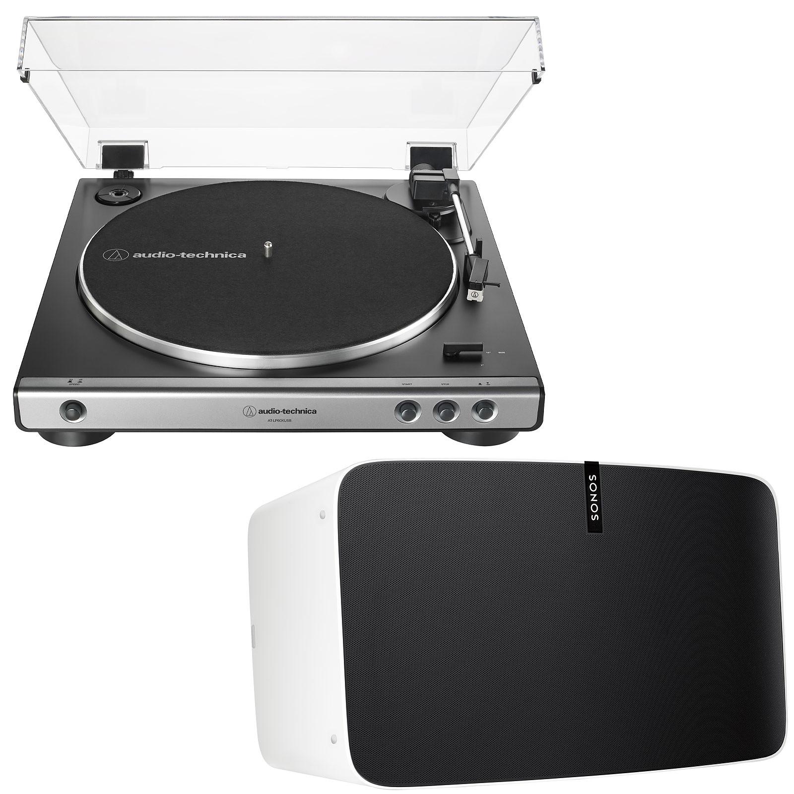 Audio-Technica AT-LP60XUSB Gris + SONOS PLAY:5 2e Génération Blanc