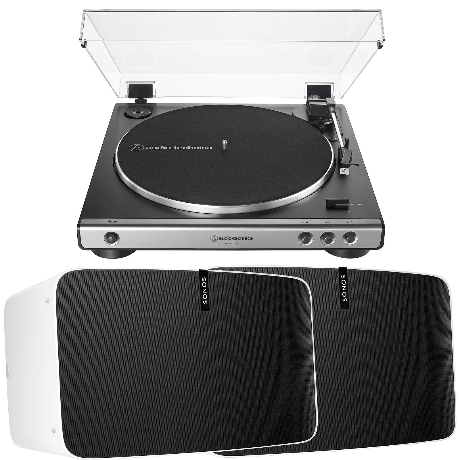 Audio-Technica AT-LP60XUSB Gris + SONOS PLAY:5 2e Génération Blanc (par paire)
