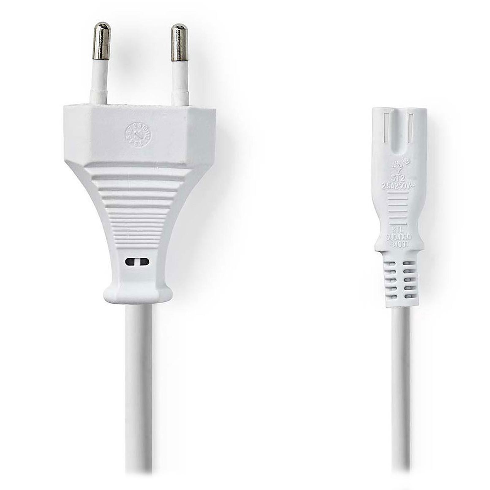 Nedis Câble d'alimentation bipolaire C7 blanc - 2 mètres