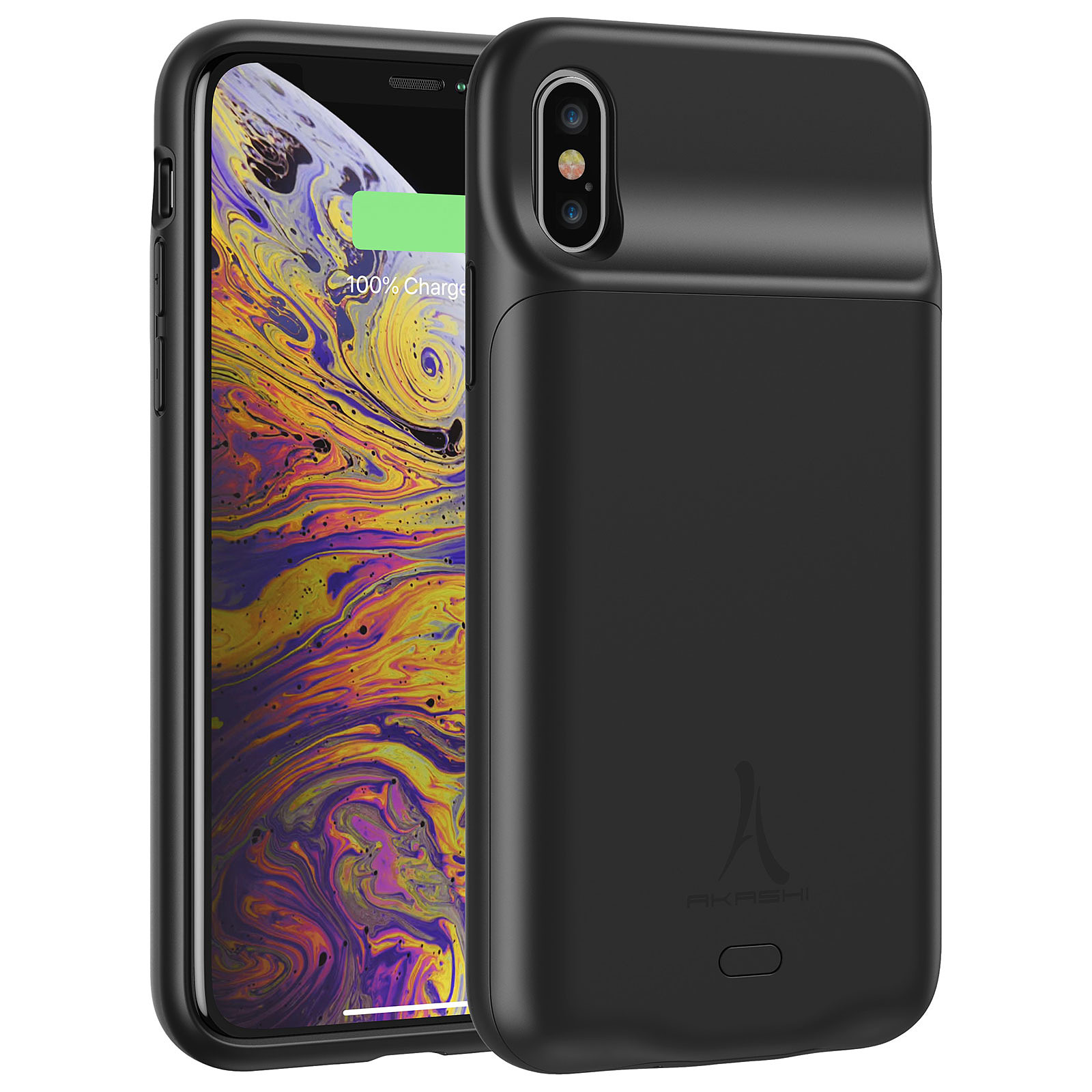 Akashi Coque Batterie Sans Fil Noire iPhone X/Xs