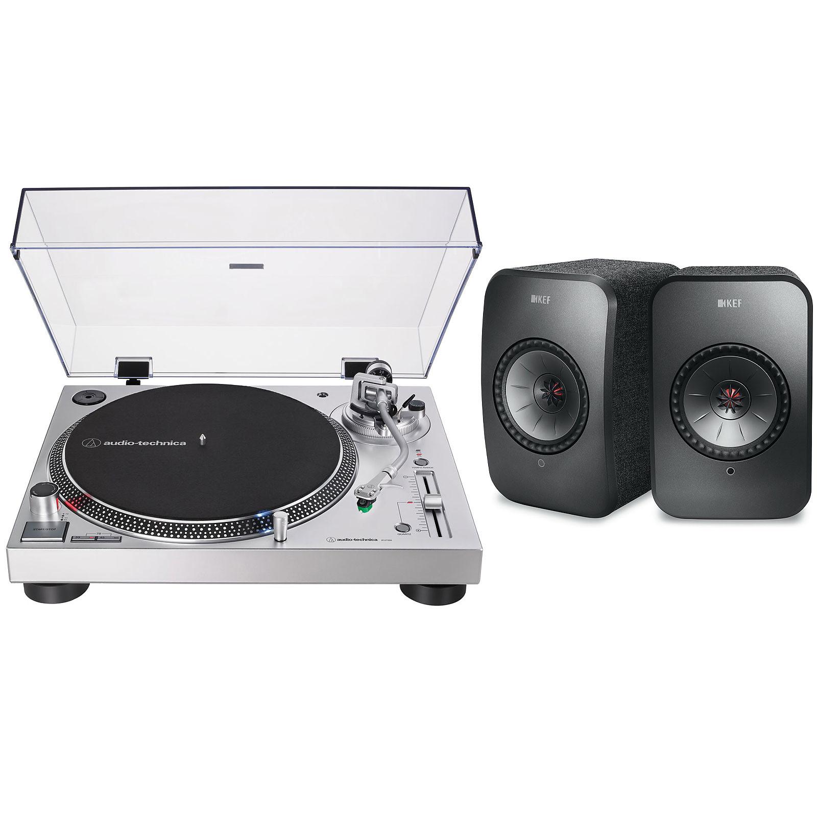 Audio-Technica AT-LP120XUSB Argent + KEF LSX Wireless Noir