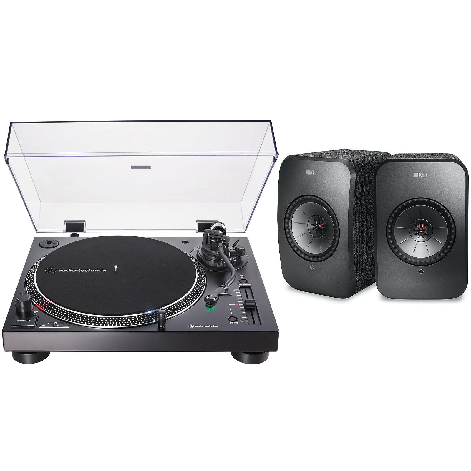 Audio-Technica AT-LP120XUSB Noir + KEF LSX Wireless Noir