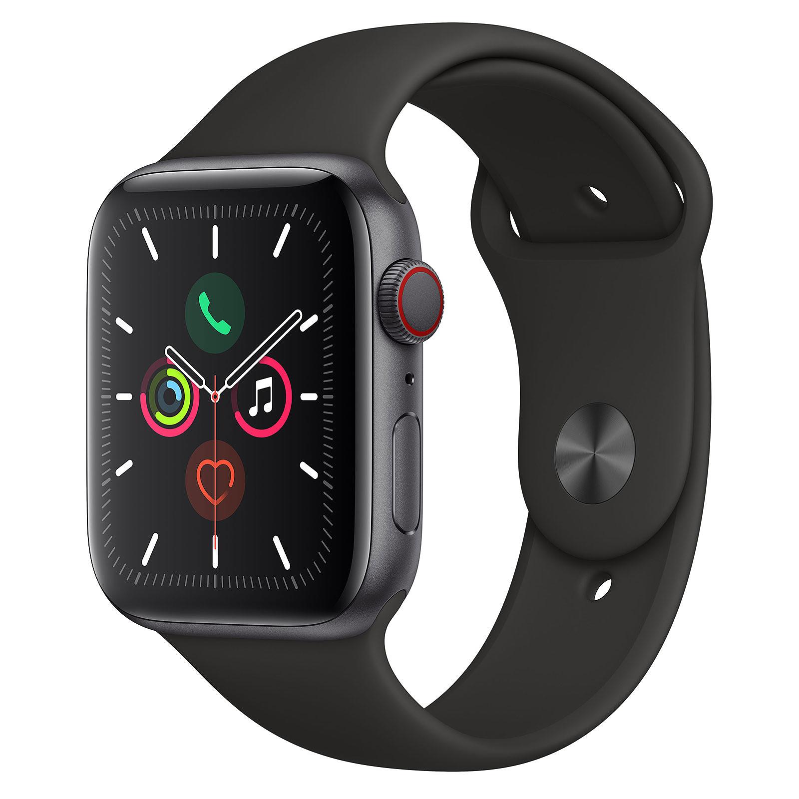Apple Watch Series 5 GPS + Cellular Aluminium Gris Sidéral Bracelet Sport Noir 44 mm