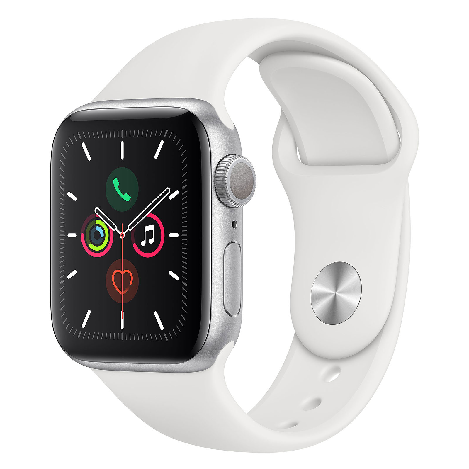 Apple Watch Series 5 GPS Aluminium Argent Bracelet Sport Blanc 40 mm