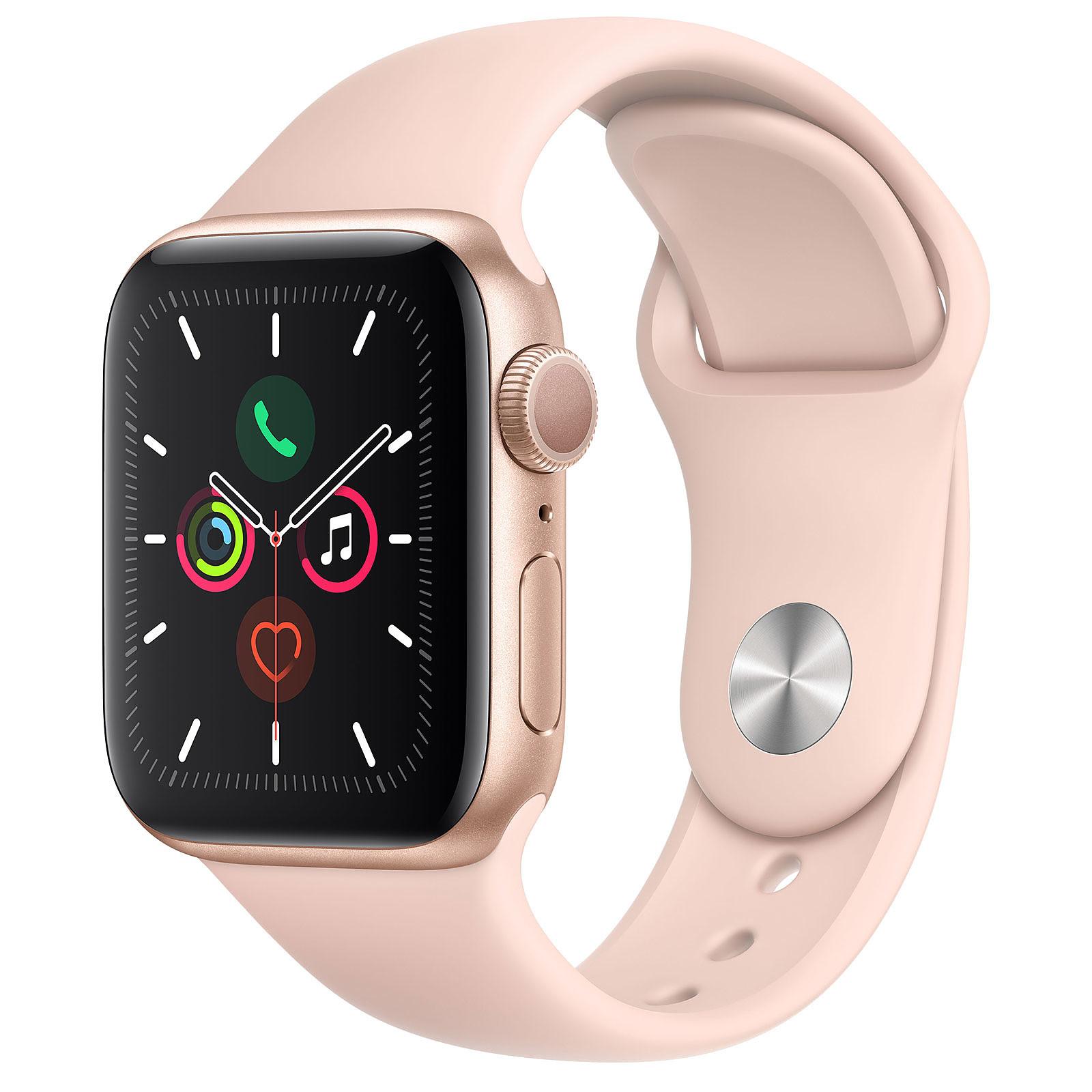 Apple Watch Series 5 GPS Aluminium Or Bracelet Sport Rose des Sables 40 mm