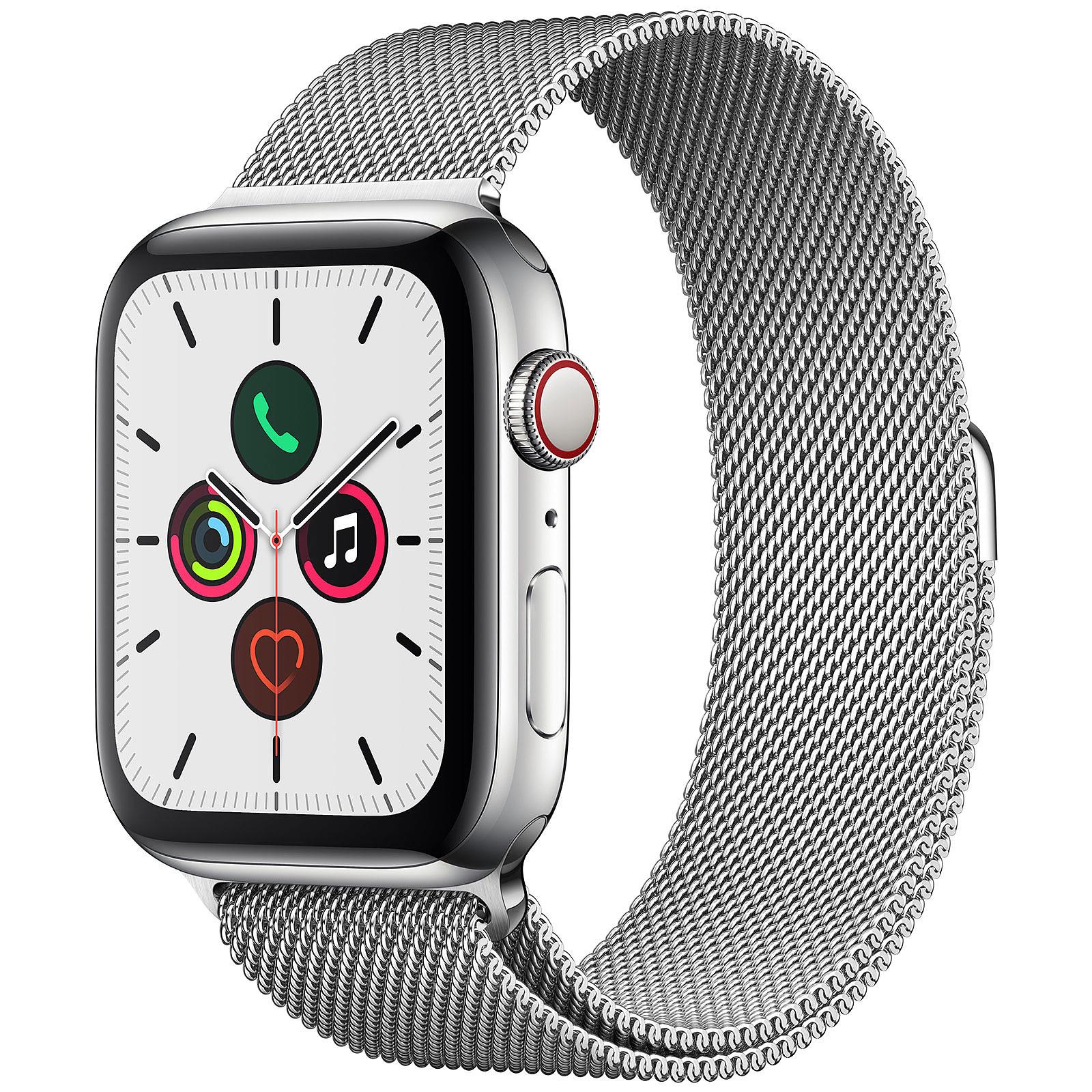 Apple Watch Series 5 GPS + Cellular Acier Bracelet Milanais Argent 44 mm