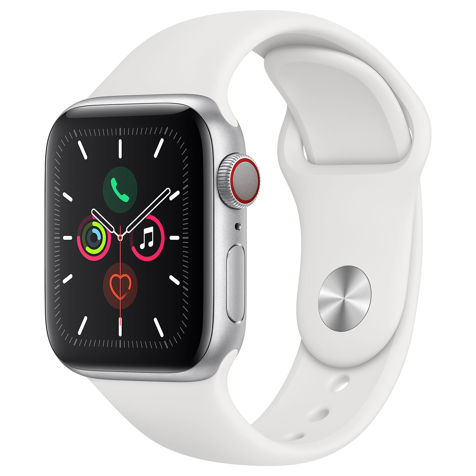 Apple Watch Series 5 GPS + Cellular Aluminium Argent Bracelet Sport Blanc 40 mm