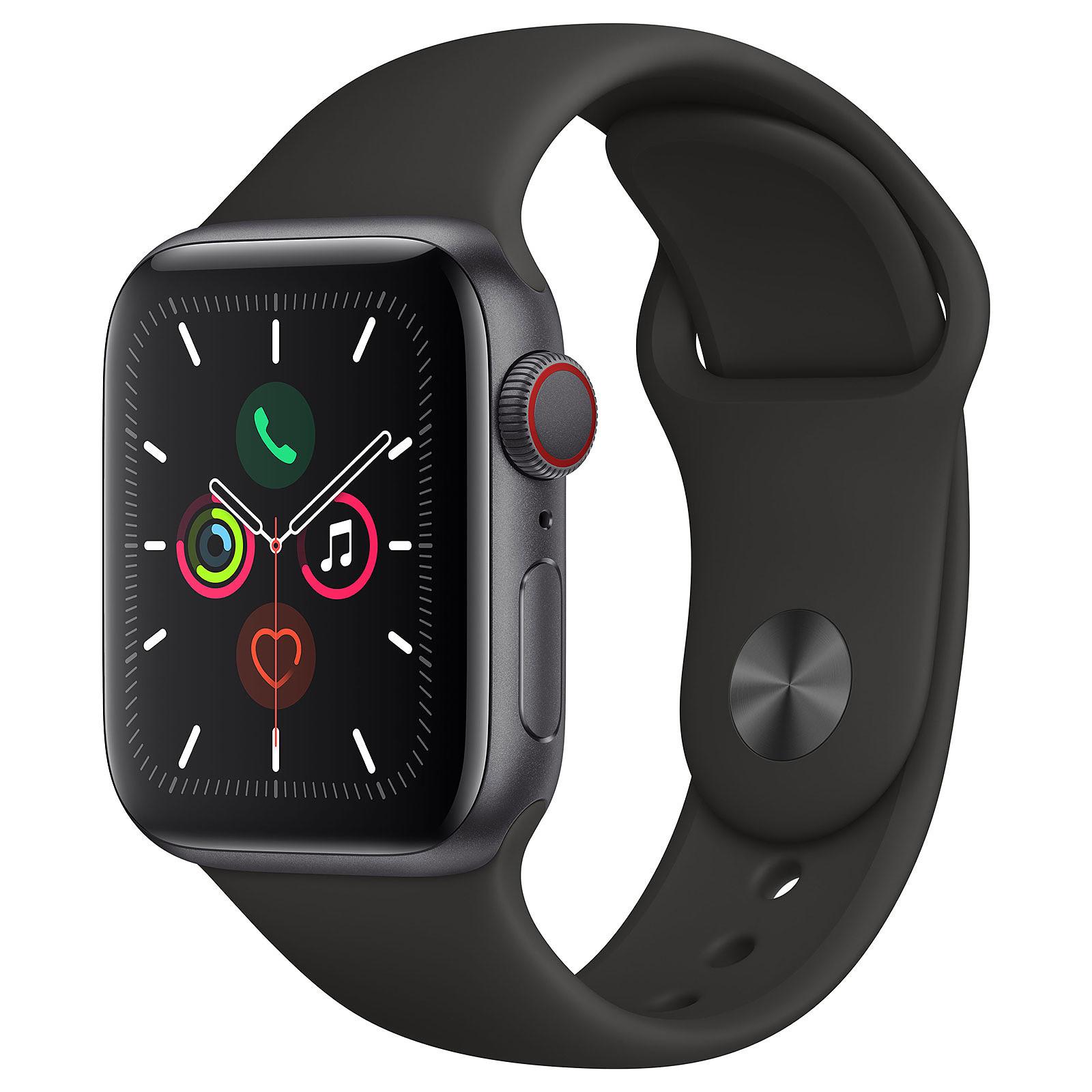 Apple Watch Series 5 GPS + Cellular Aluminium Gris Sidéral Bracelet Sport Noir 40 mm