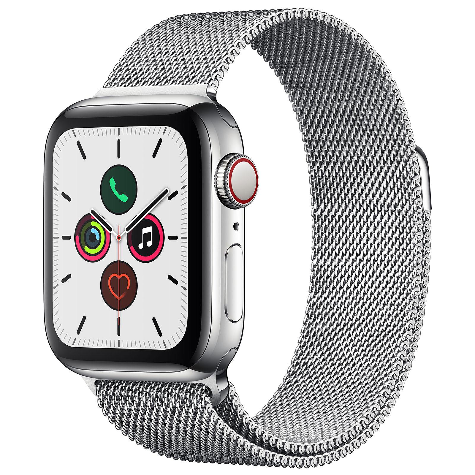Apple Watch Series 5 GPS + Cellular Acier Argent Bracelet Milanais Argent 40 mm