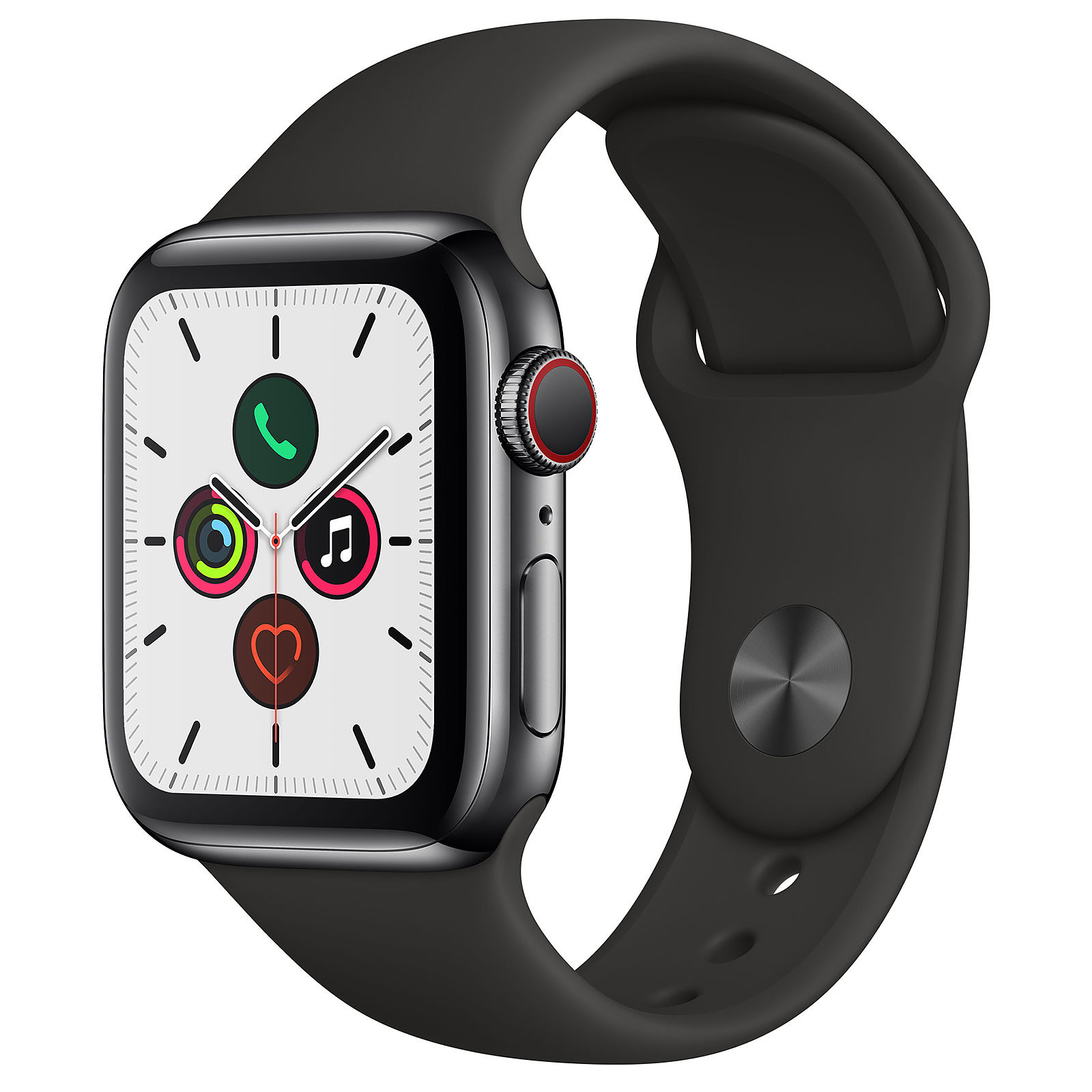 Apple Watch Series 5 GPS + Cellular Acier Noir Bracelet Sport Noir 40 mm