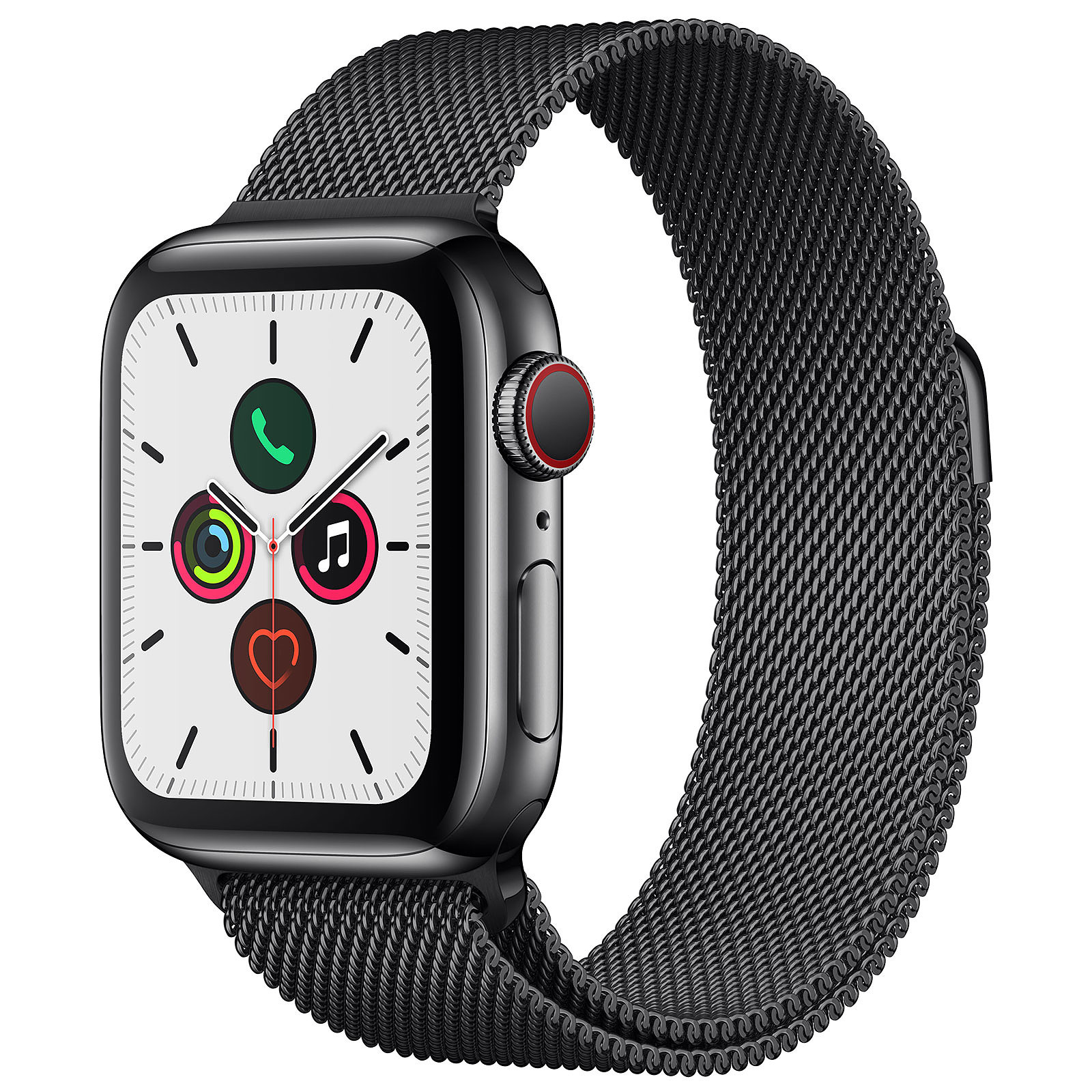 Apple Watch Series 5 GPS + Cellular Acier Noir Bracelet Milanais Noir 40 mm