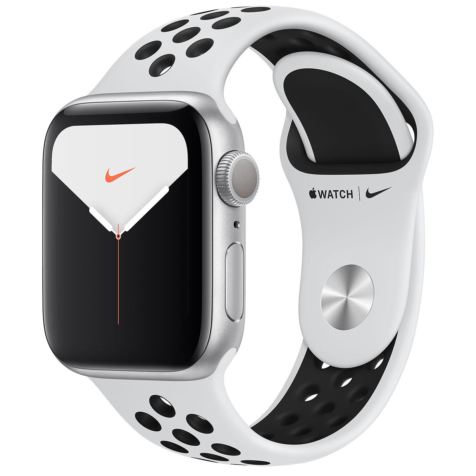 Apple Watch Series 5 Nike GPS Aluminium Argent Bracelet Sport Platine Pur/Noir 40 mm