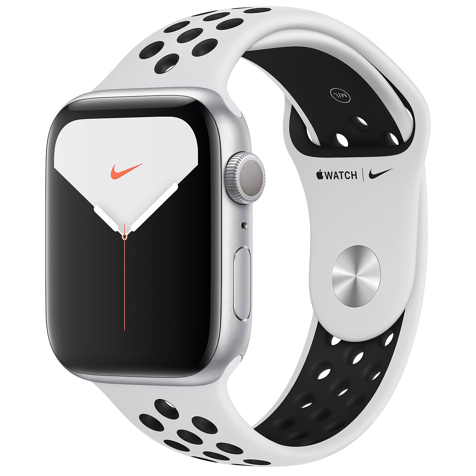 Apple Watch Series 5 Nike GPS Aluminium Argent Bracelet Sport Platine Pur/Noir 44 mm