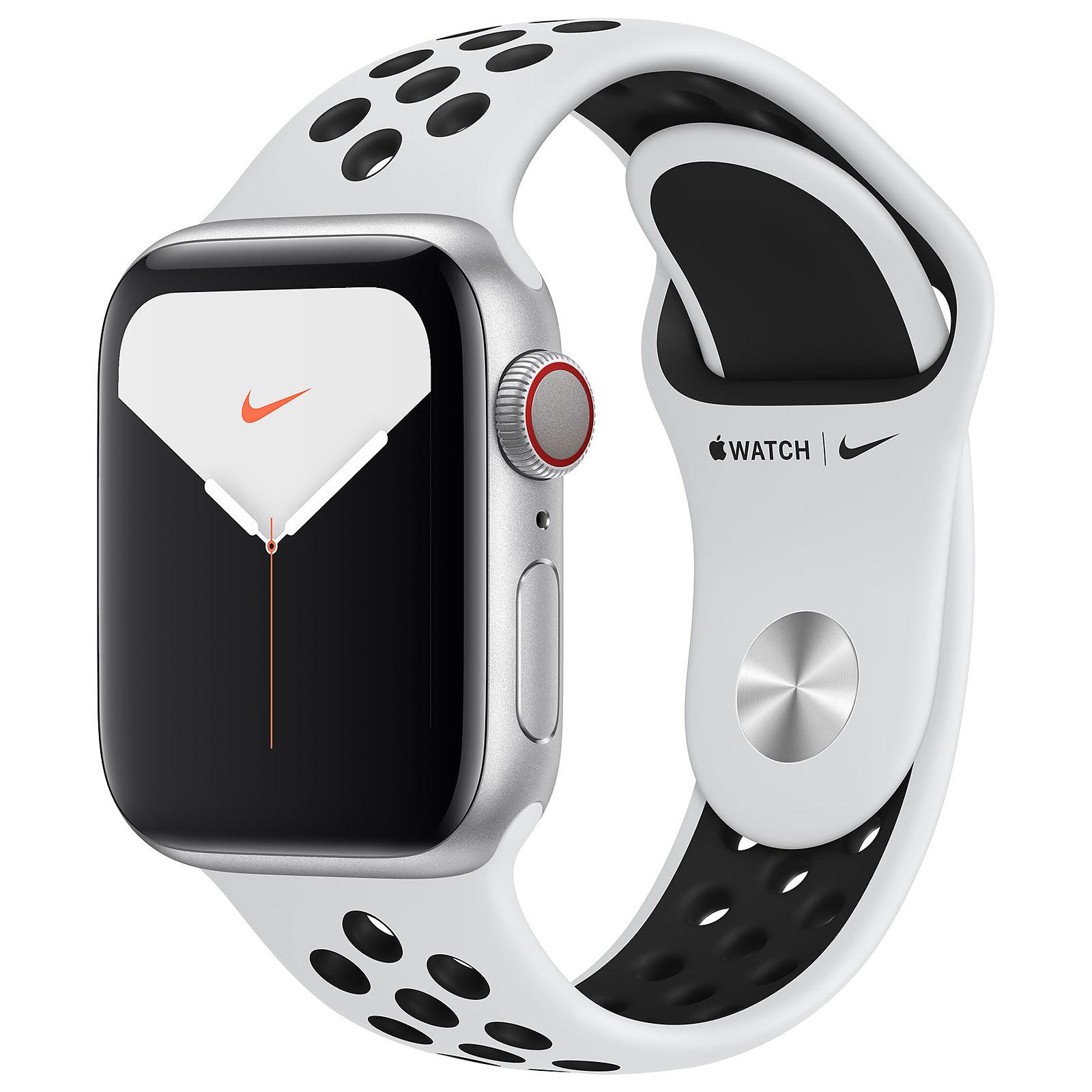 Apple Watch Series 5 Nike GPS + Cellular Aluminio Plato Pulsera deportiva Puro Platino/Negro 40 mm