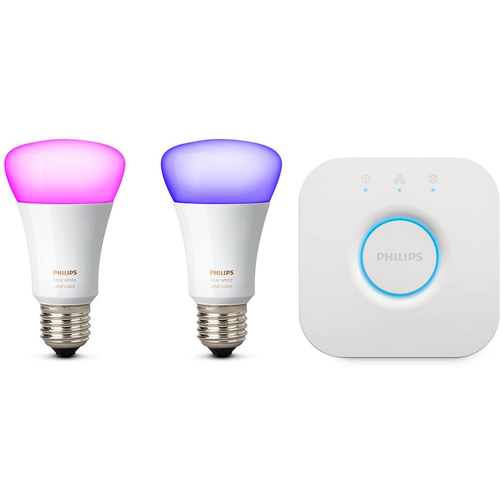 Philips Hue Ampoule LED Connectée Blanc Chaud E27 Bluetooth Pack x2 Alexa Google