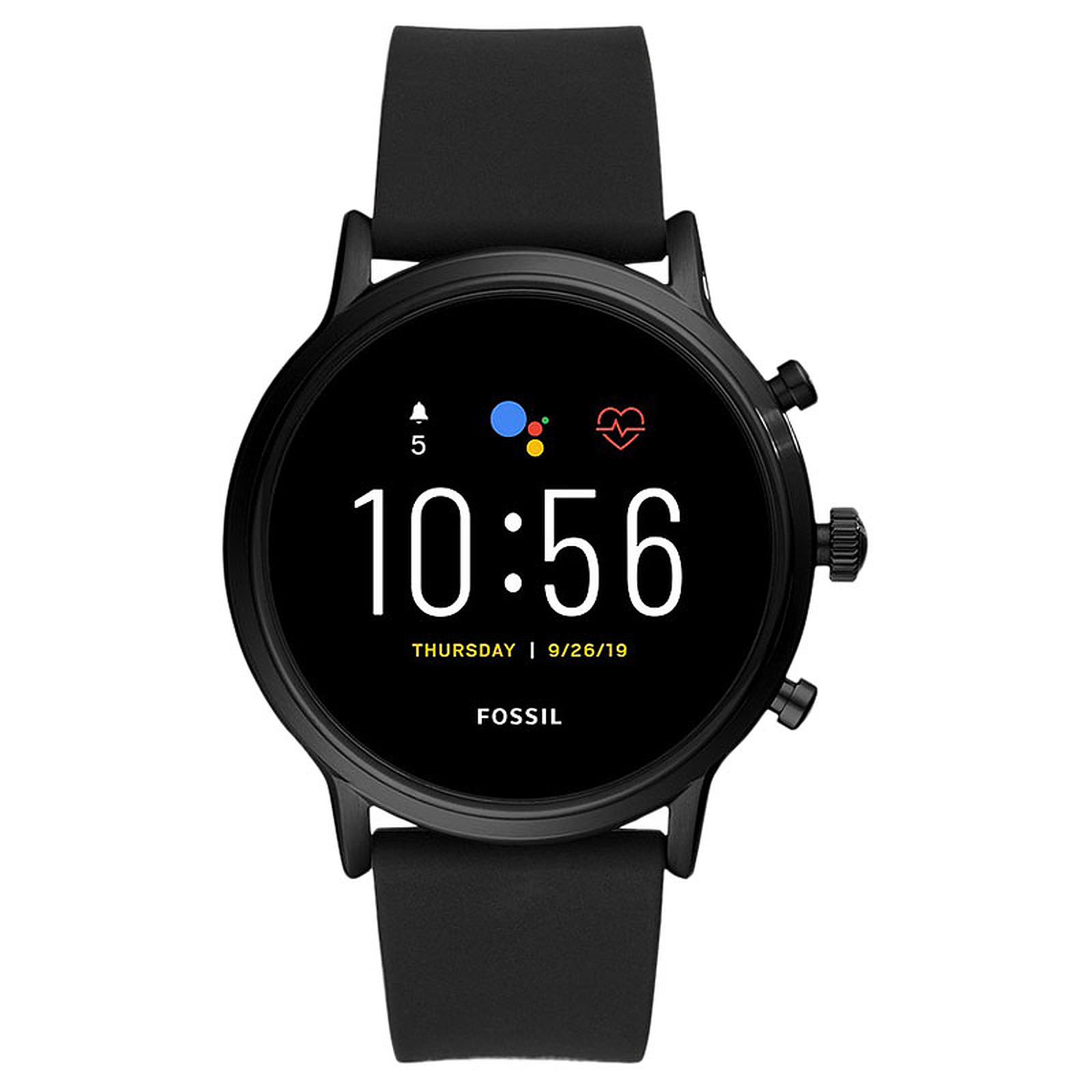 Fossil The Carlyle HR (44 mm / Silicone / Noir)