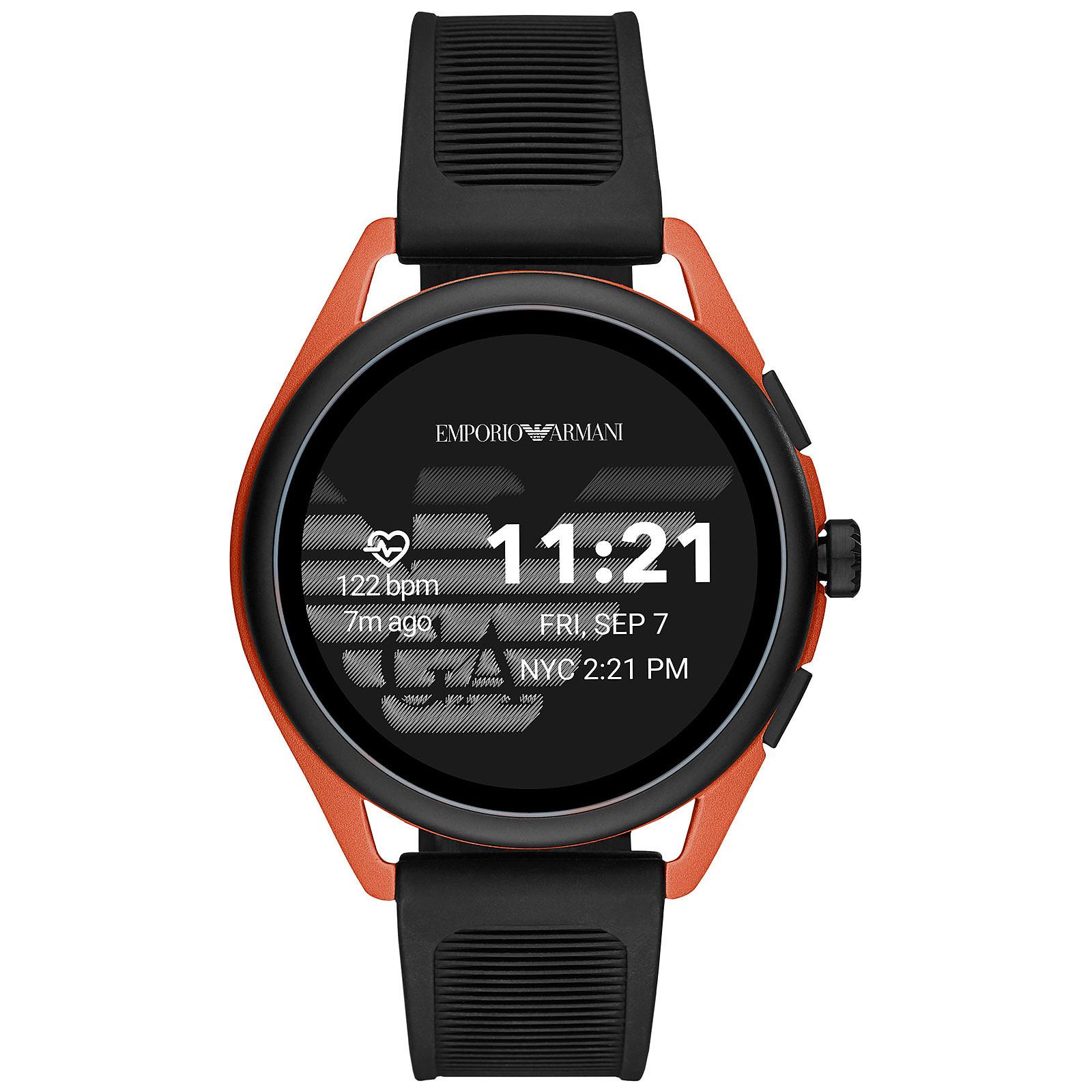 Emporio Armani Connected Smartwatch 3 Gen.5 (44.5 mm / Caoutchouc / Noir et Orange)