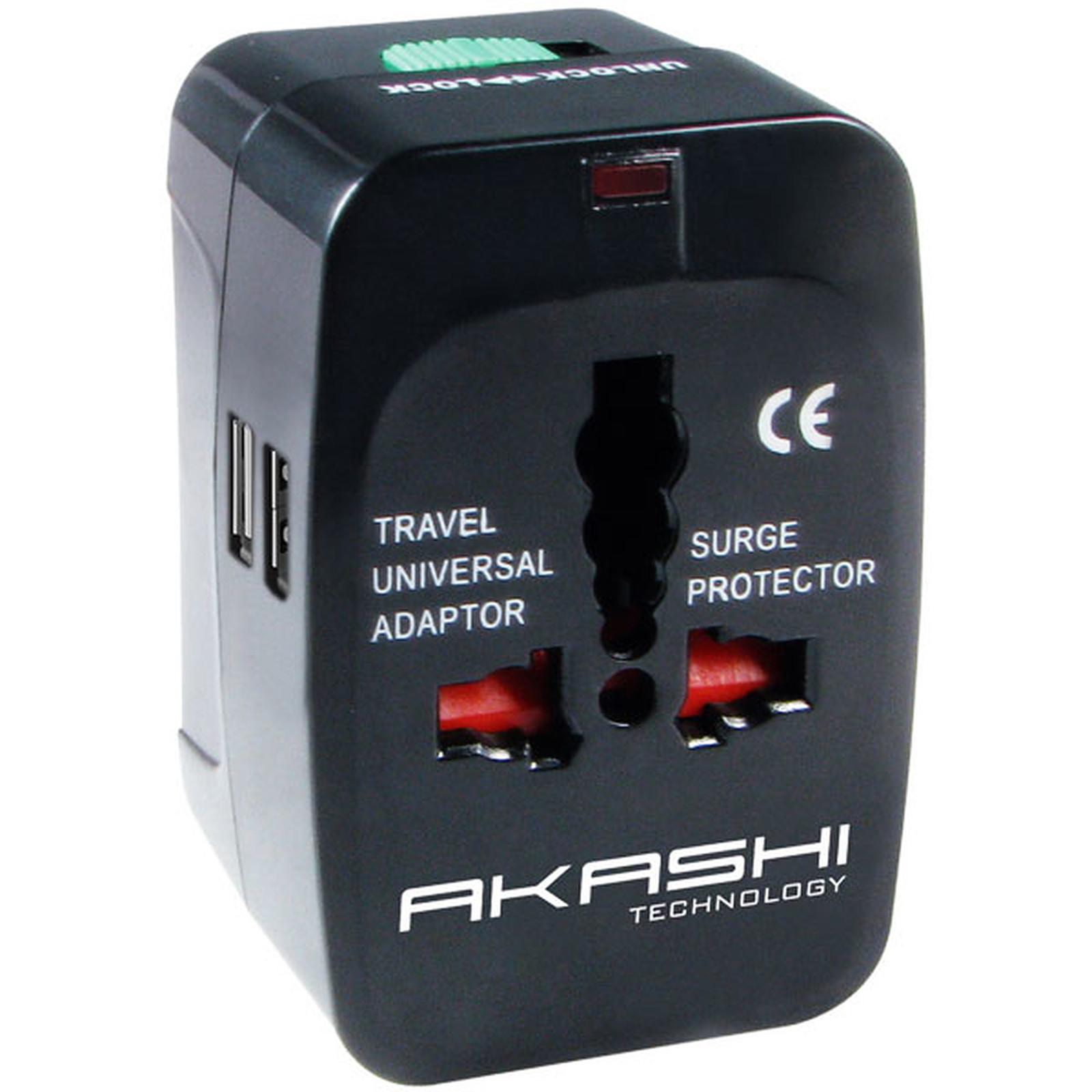 Akashi Adaptateur Universel de voyage 150 Pays avec 2 ports USB