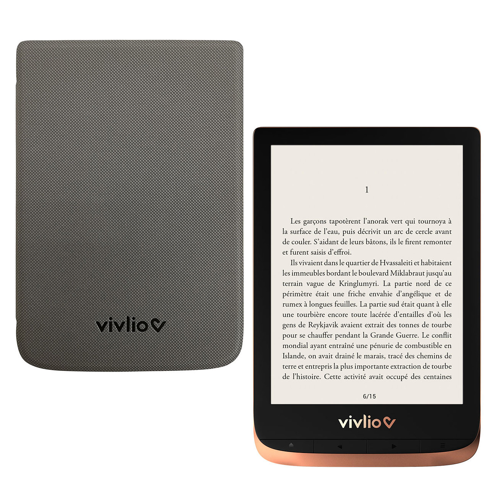 Vivlio Touch HD Plus Cuivre/Noir + Pack d'eBooks OFFERT + Housse Grise