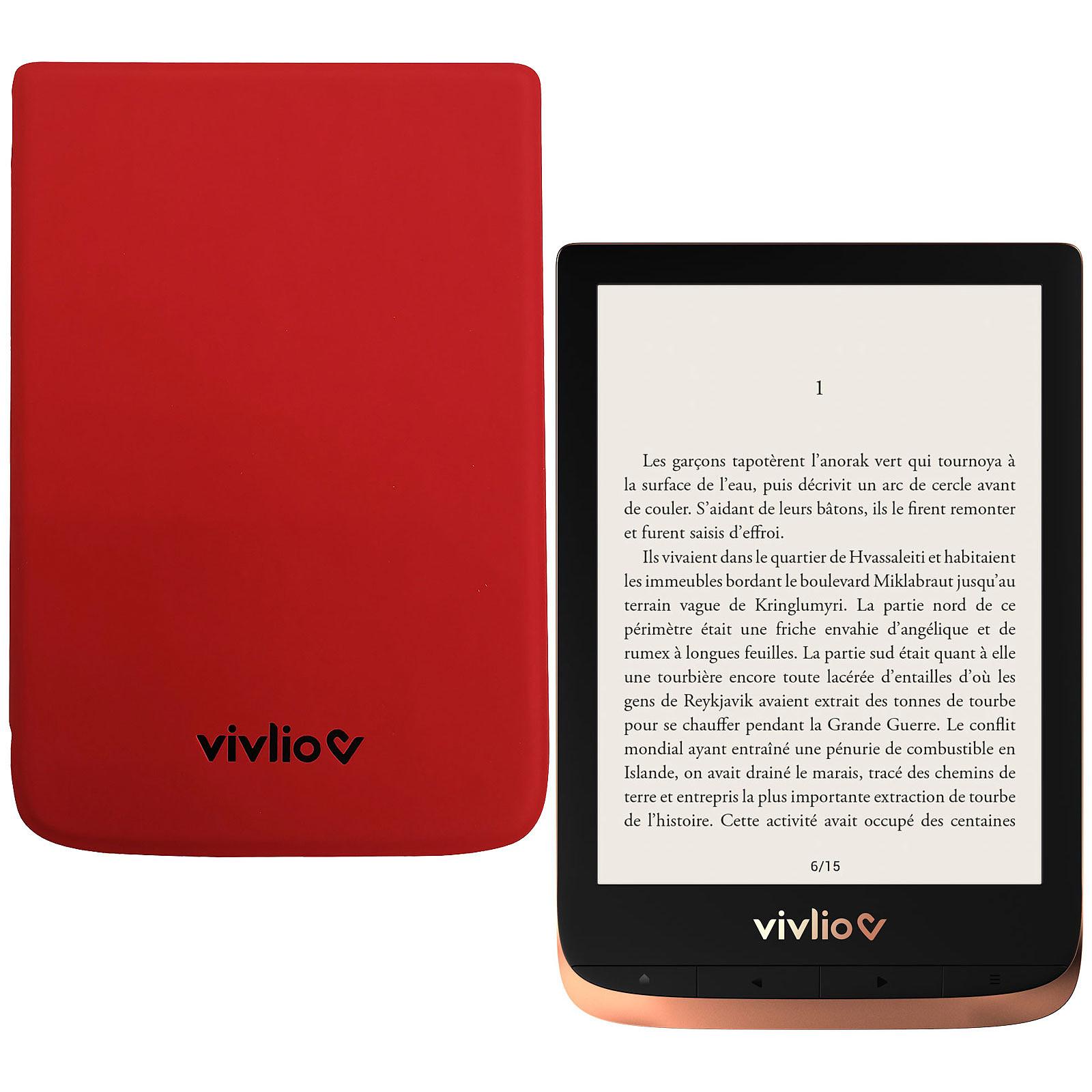 Vivlio Touch HD Plus Cuivre/Noir + Pack d'eBooks OFFERT + Housse Rouge