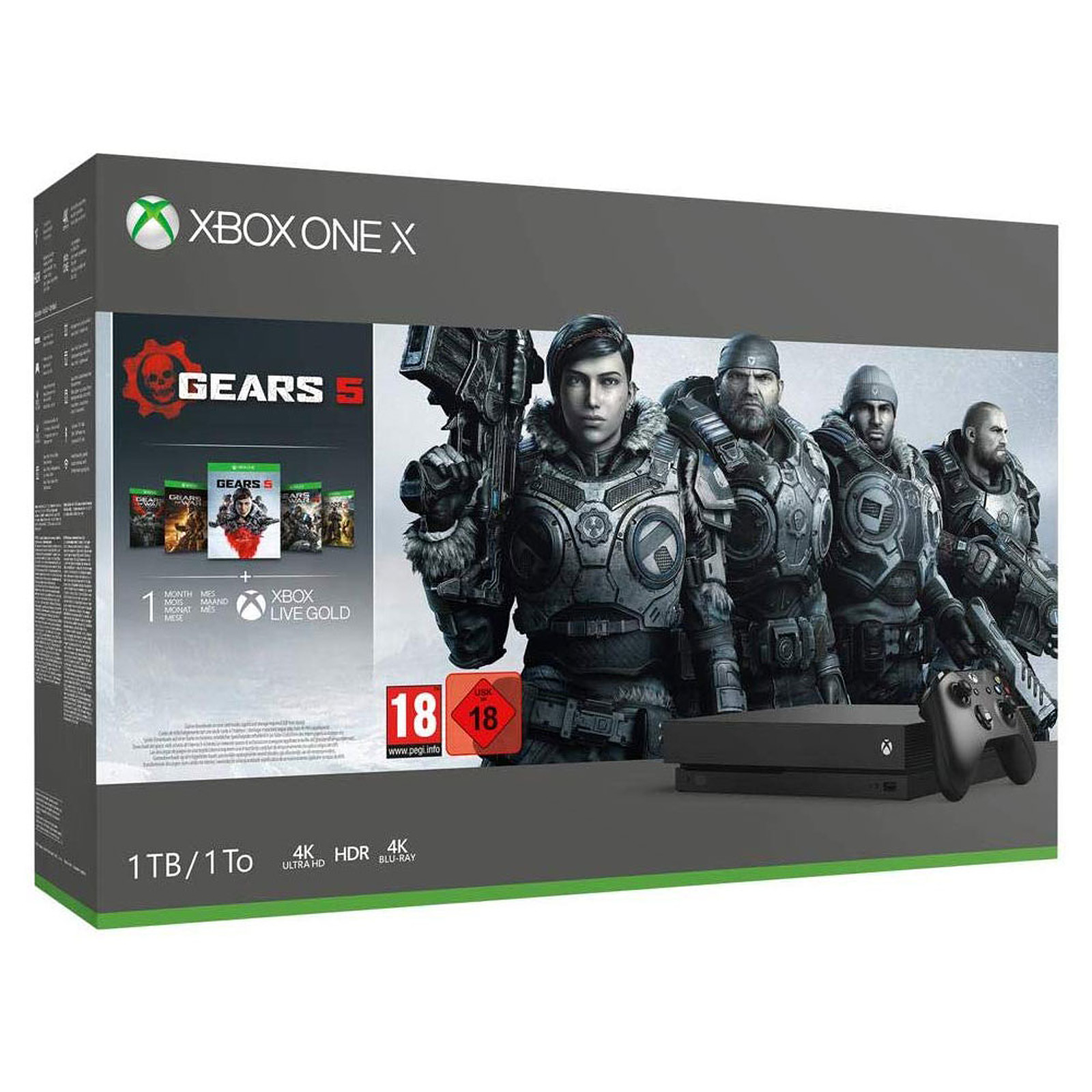 Microsoft Xbox One X (1 To) + Gears 5 + Gears Collection