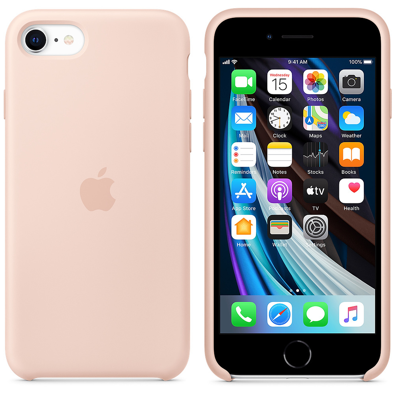 Apple Coque en silicone Rose des Sables Apple iPhone SE